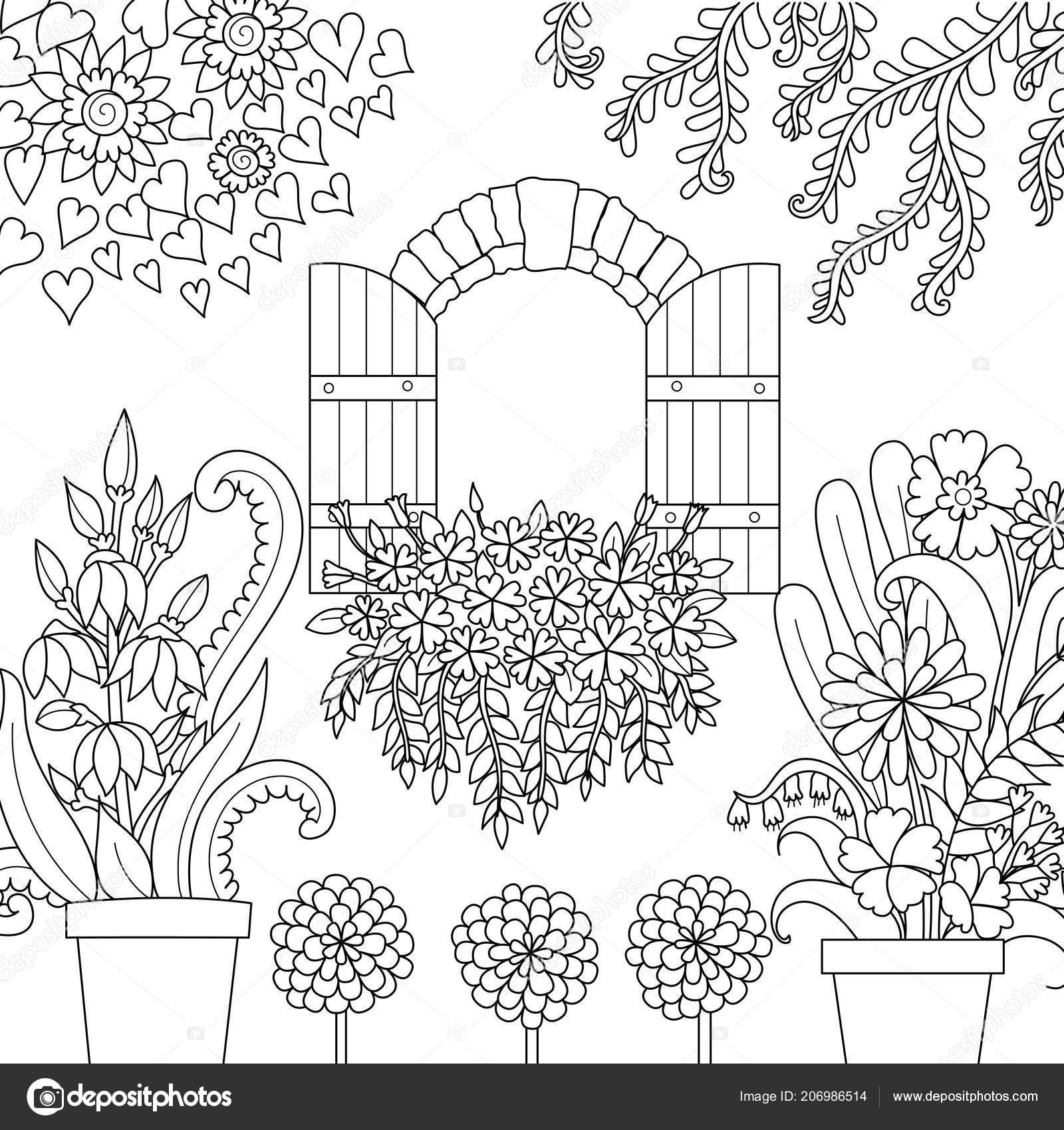 Pencere Kitap Sayfa Boyama Için Güzel Bir Bahçe Vektör çizim Stok