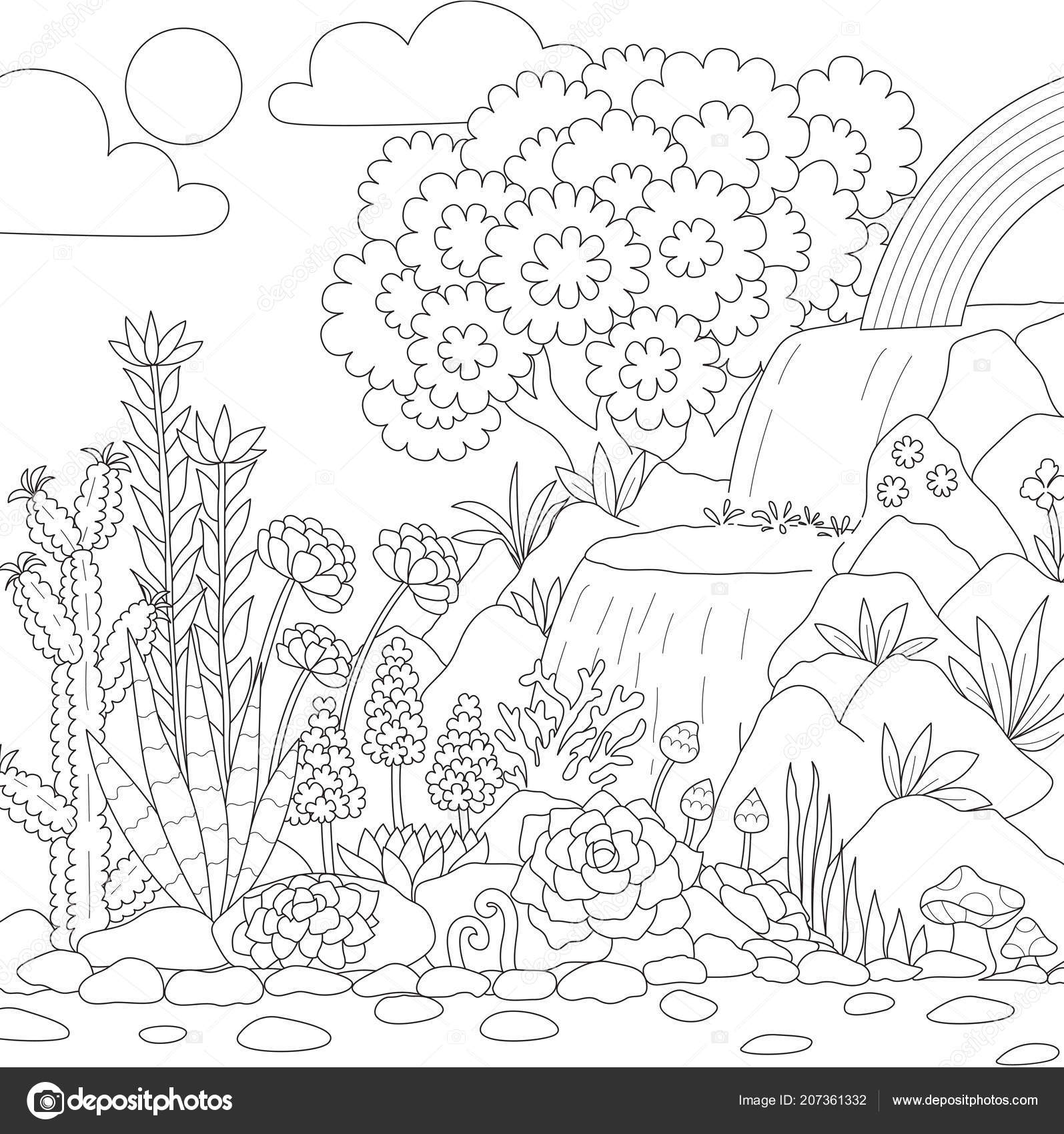 Línea Arte Cascada Con Flores Para Colorear Página Del Libro