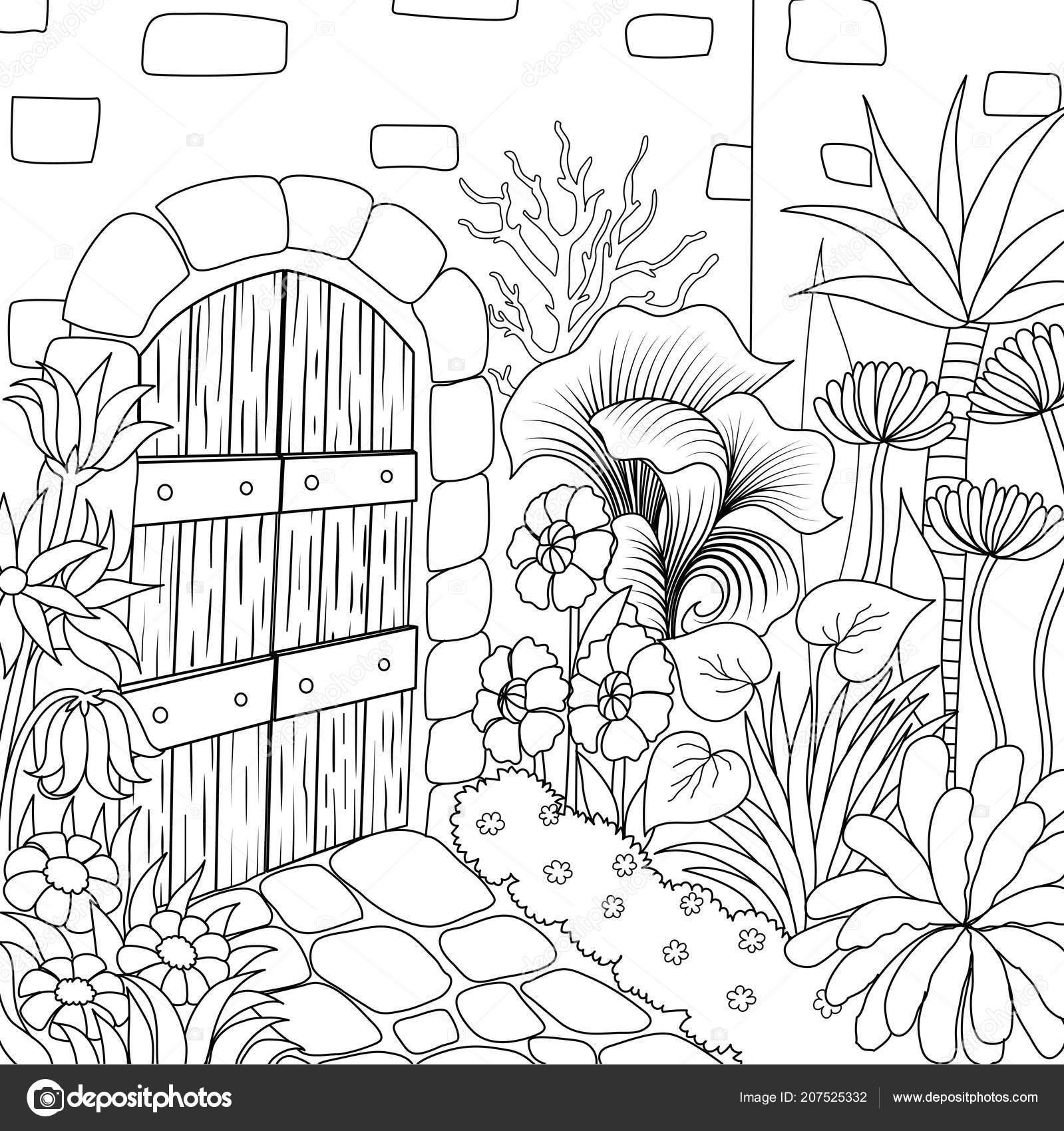 Basit çizgi Sanatı Kitabı Sayfa Boyama Için Güzel Bir Bahçe