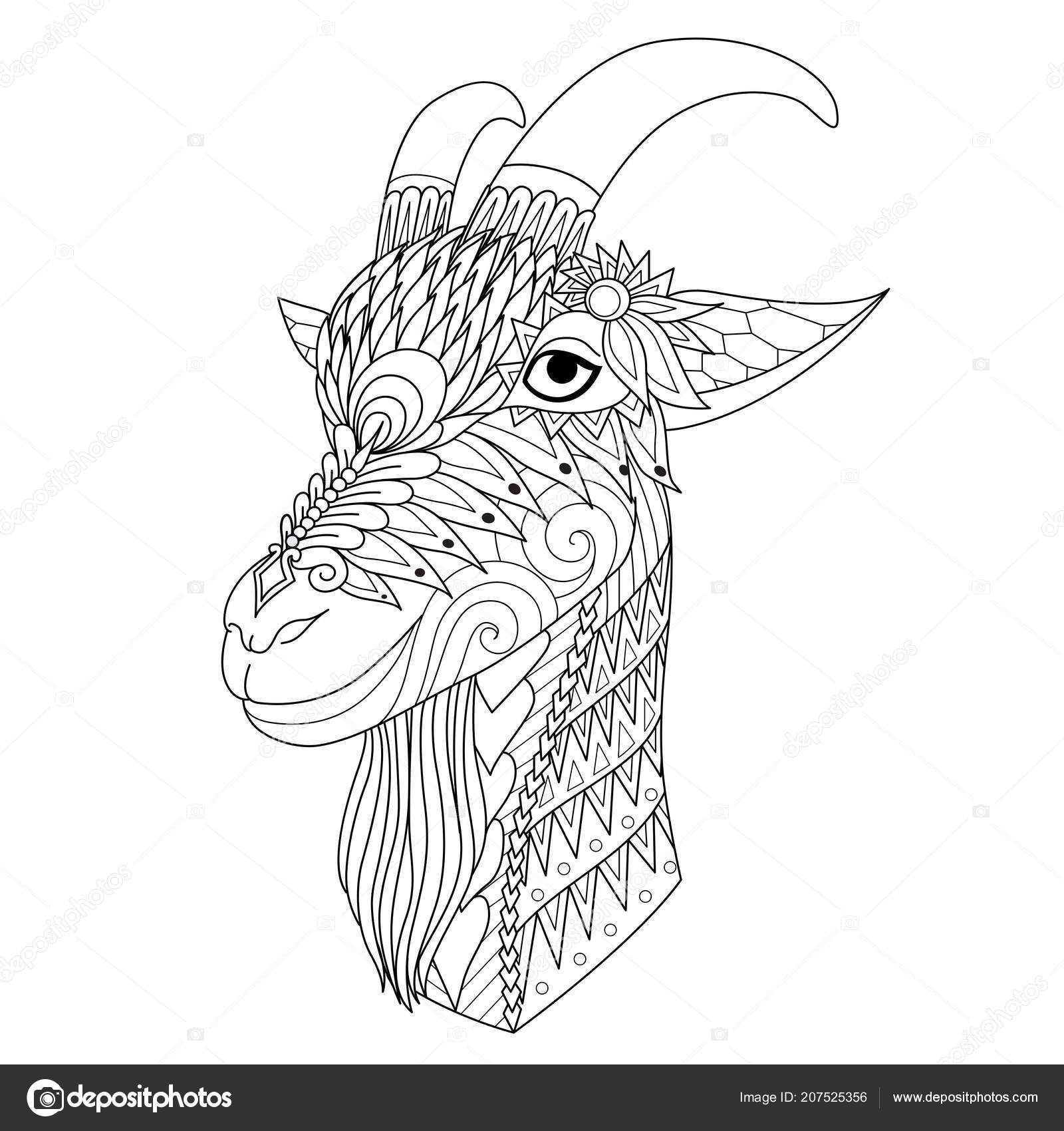 Intricate Line Art Happy Sheep Design Element Coloring Book Page