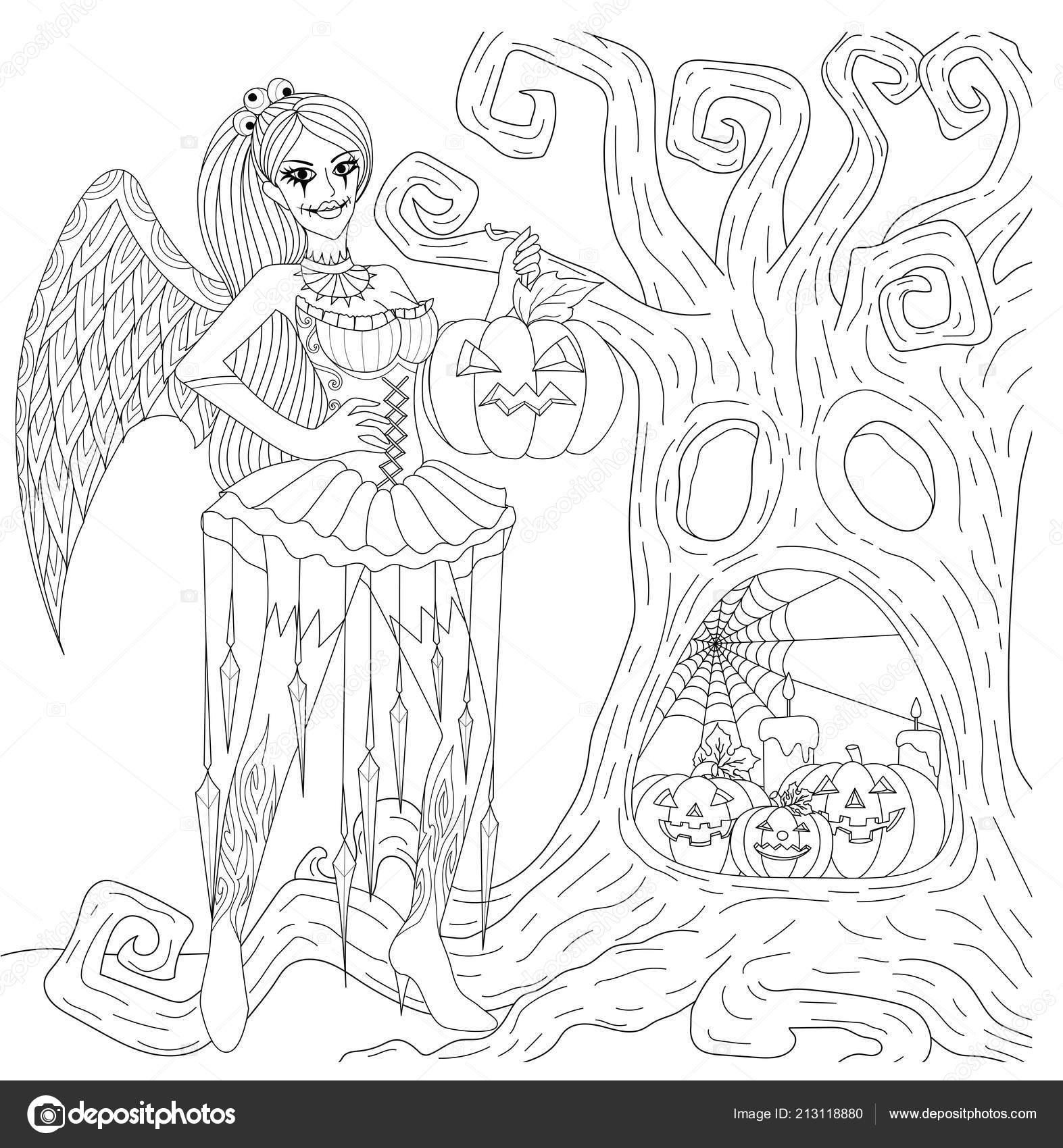 Cadılar Bayramı Ile Gotik Kız Cosplay Kuru Ağaç Boyama Kitabı Stok