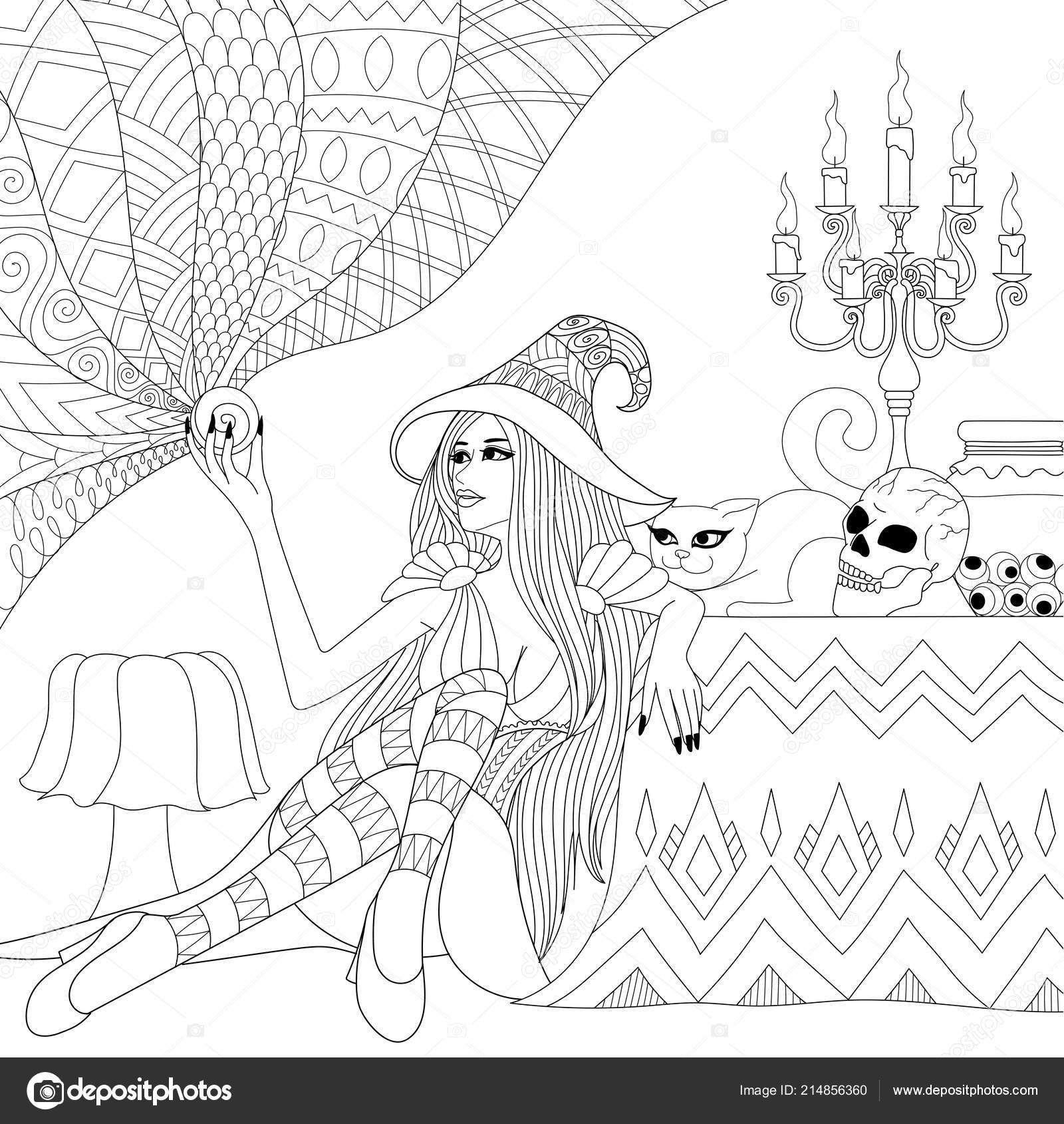 Colouring Pages Coloring Book Adults Halloween Girl Witch Crystal