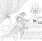 Ausmalbilder. Malbuch für Erwachsene. Halloween-Mädchen oder Hexe mit Kristallkugel. Horrorhintergrund mit Totenkopf, Kerzen und Katze. Antistress-Freihand-Skizzenzeichnung mit Doodle und Zentangle-Elementen.