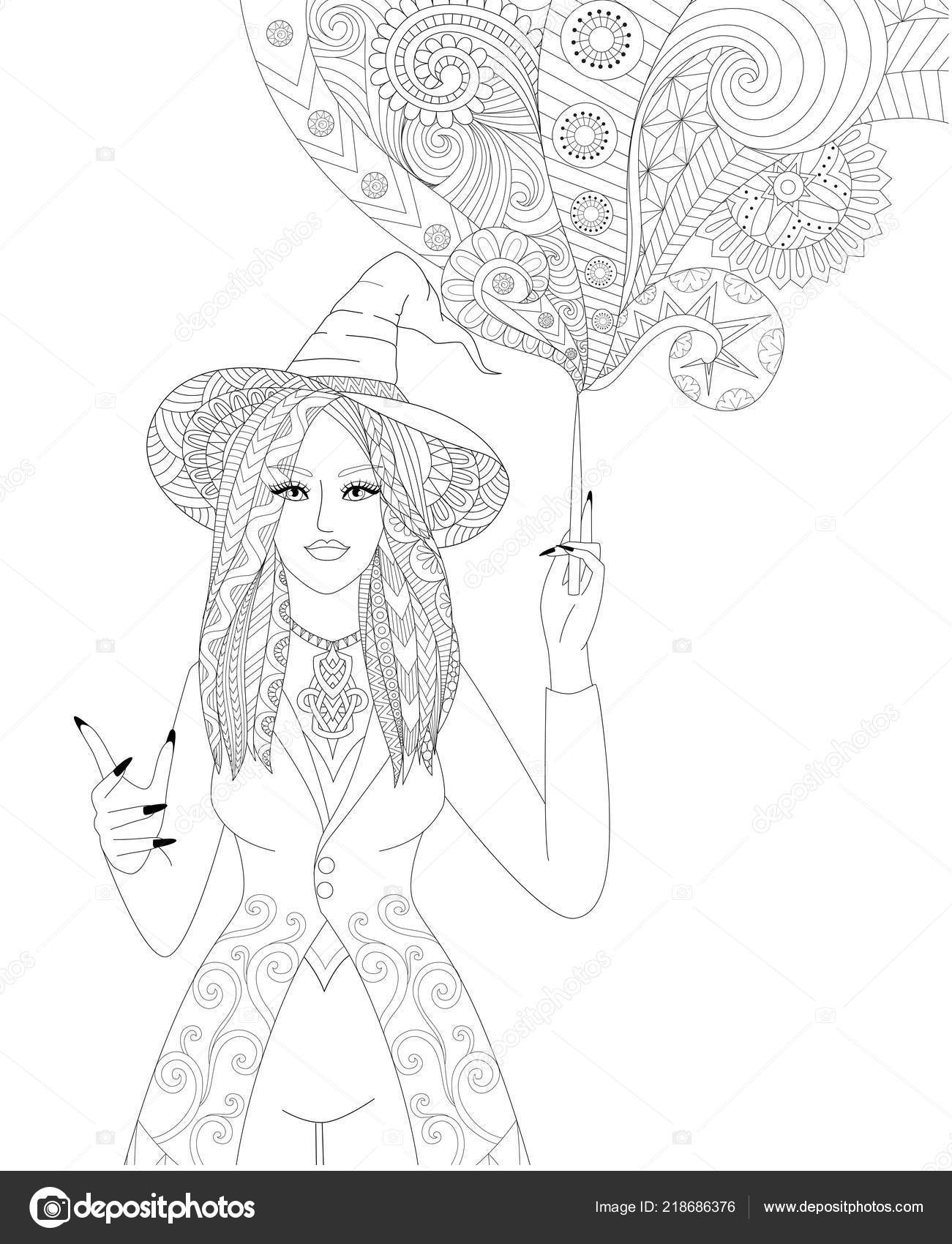 Colouring Pages Coloring Book Adults Halloween Girl Witch Spelling