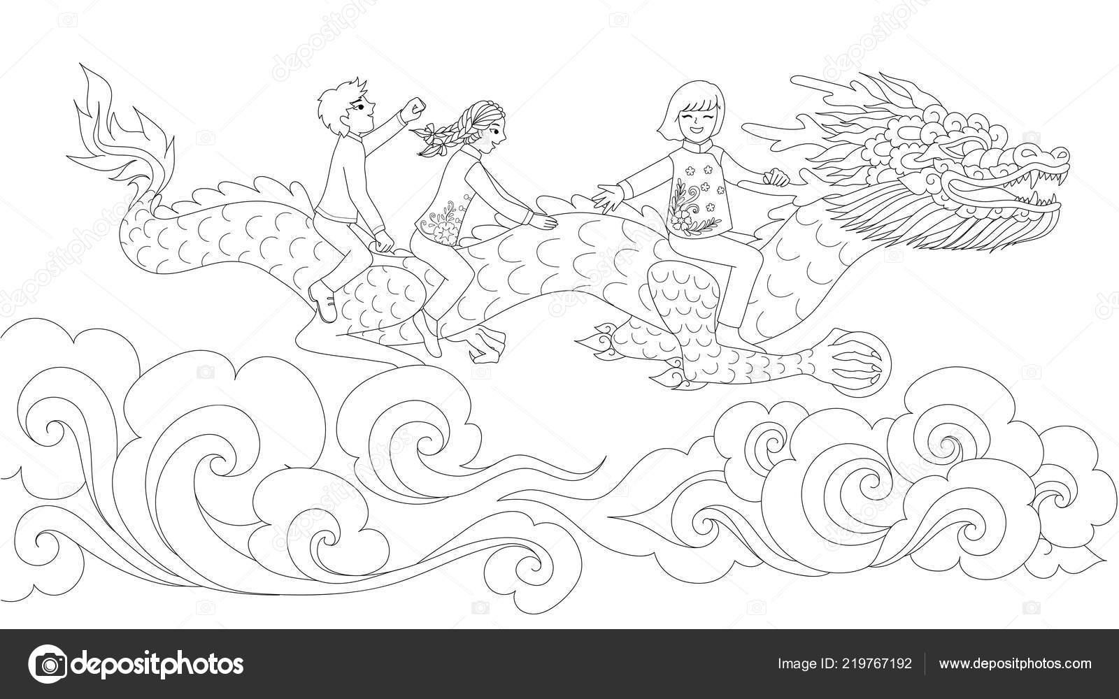 Kleurplaten Chinese Draak.Aziatische Kinderen Traditionele Kleding Rijden Chinese Draak Houden