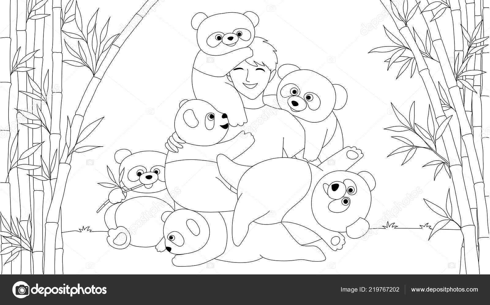 Niño Chino Disfrutar Jugando Con Lindos Pandas Bosque Bambú