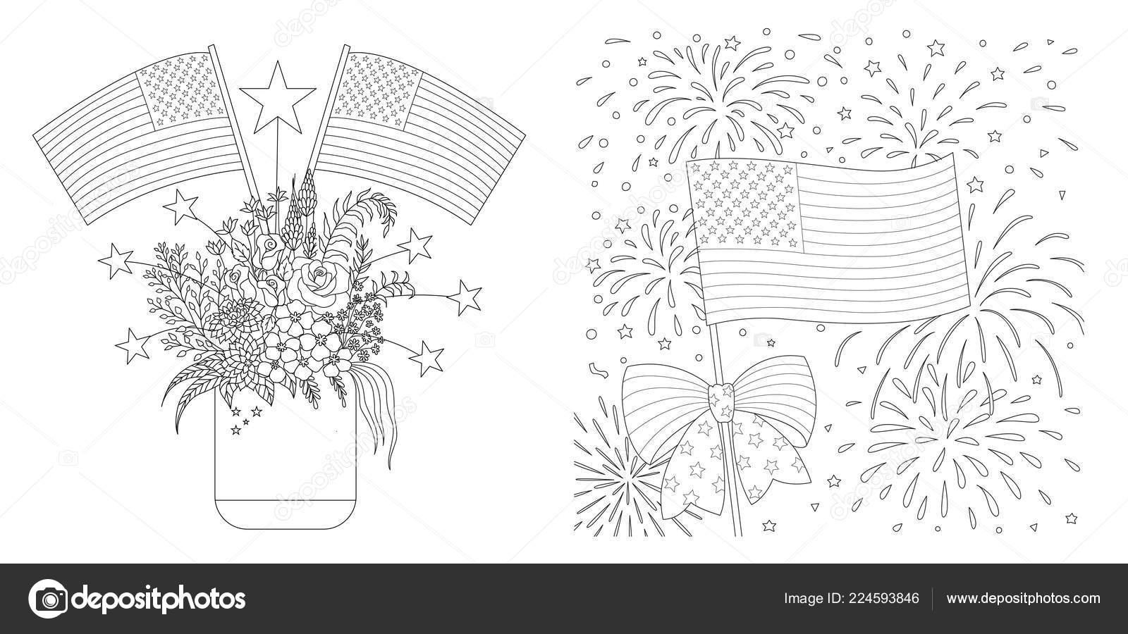 Amerikan Bayrakları çizim Sayfası Kartları Benzeri Boyama Için
