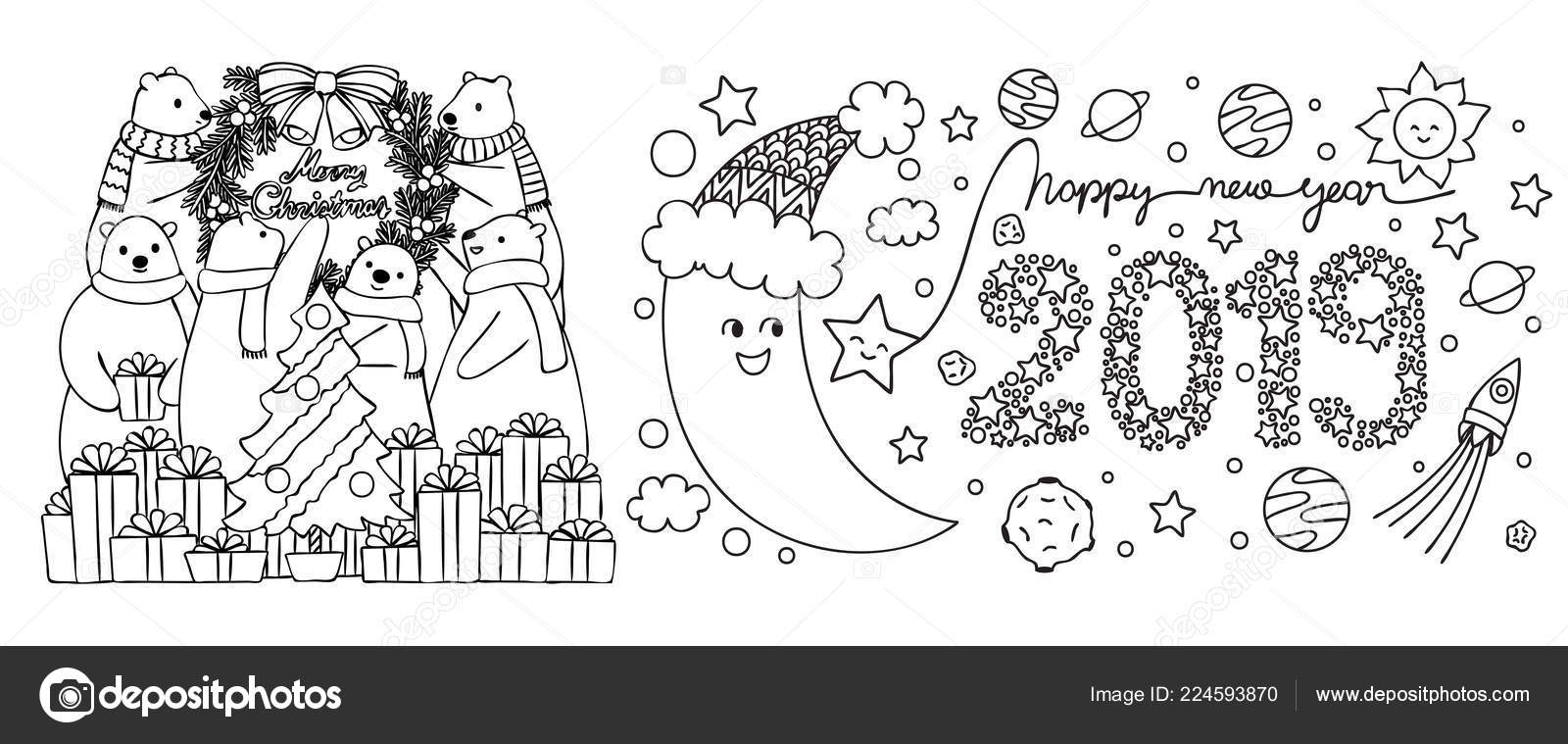 Kleurplaten Nieuwjaar En Kerstmis.Ijsberen Voorbereiden Voor Kerstmis Partij Maan Vieren