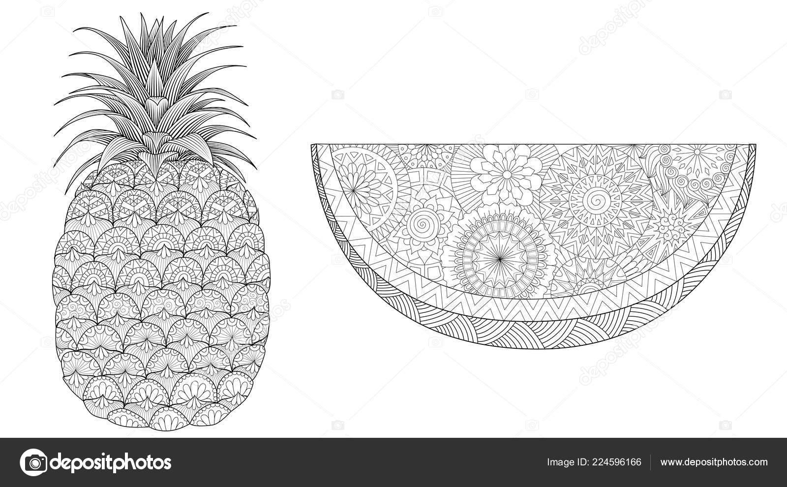 Ananas Anguria Impostato Colorazione Stampa Libro Pagina