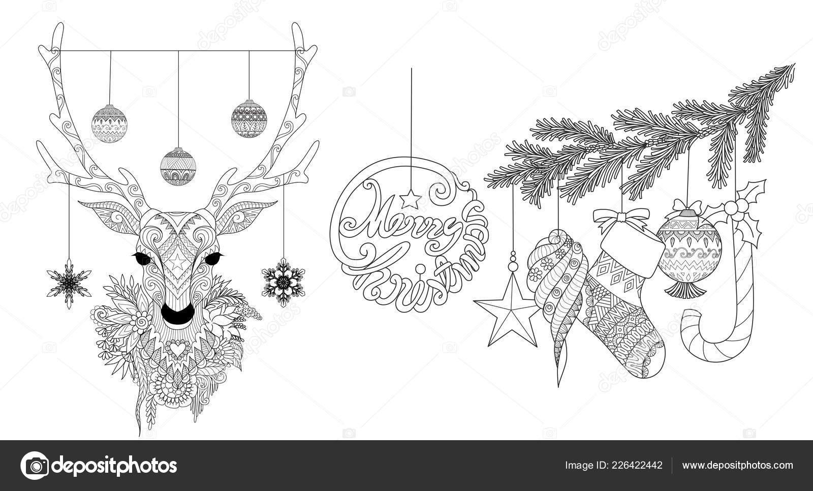 Weihnachten Rentier Und Ornamente Für Design Element Und