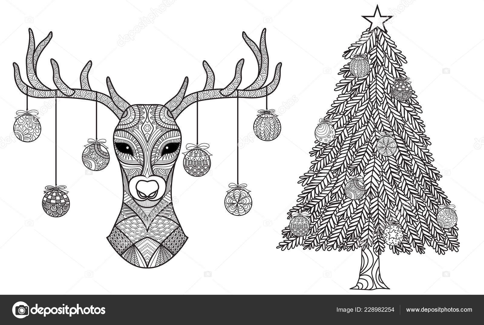크리스마스 Riendeer 크리스마스 페이지 그림에 집합입니다