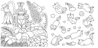 Hand drawn happy cats in floral forest in spring season and cats with unicorn horn flying in space, for design element and coloring book page. Vector illustration