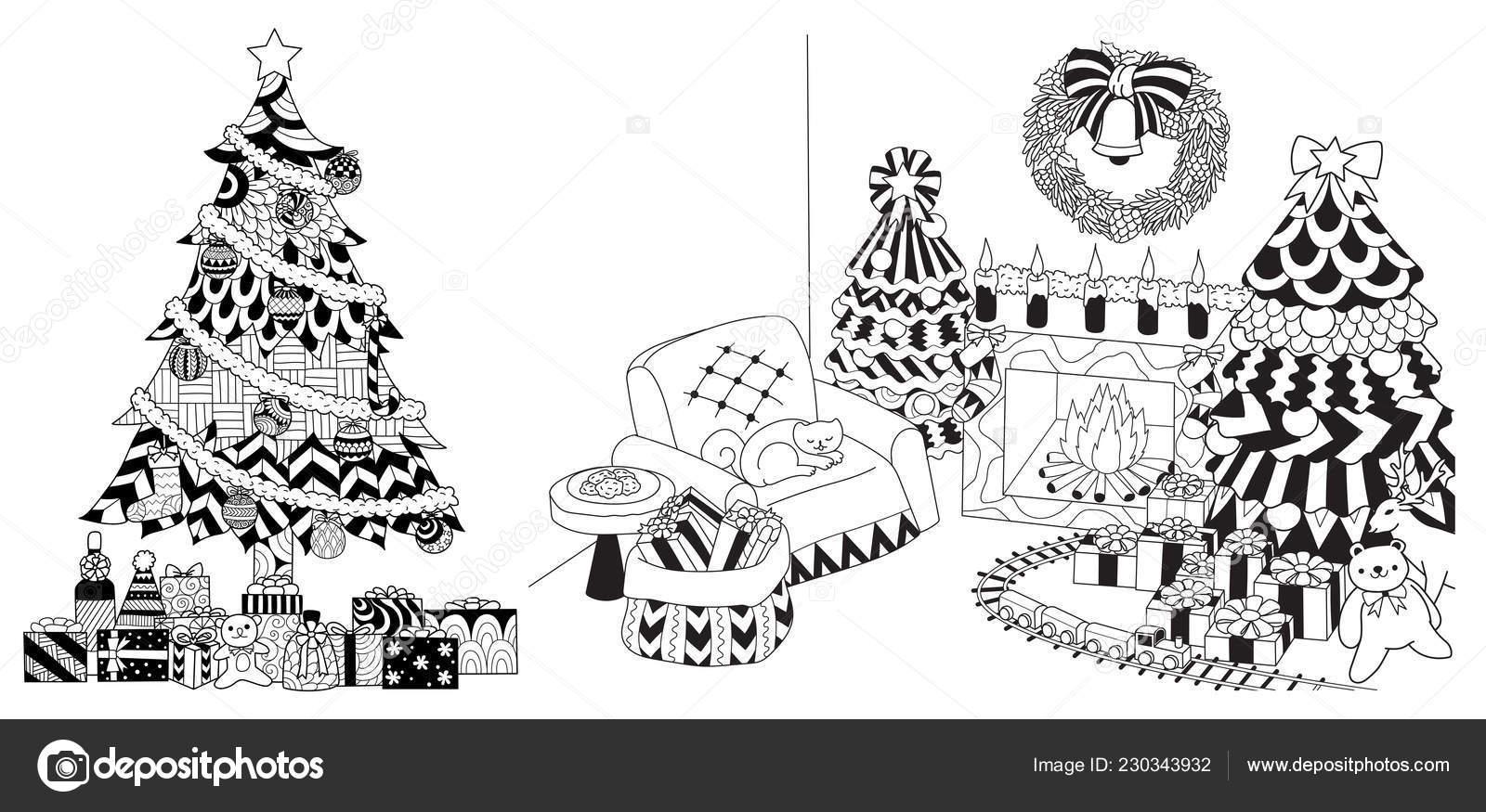 Disegni Da Colorare Albero Di Natale.Albero Natale Presenta Ornamenti Gruppo Disegni Carte Libro Colorare