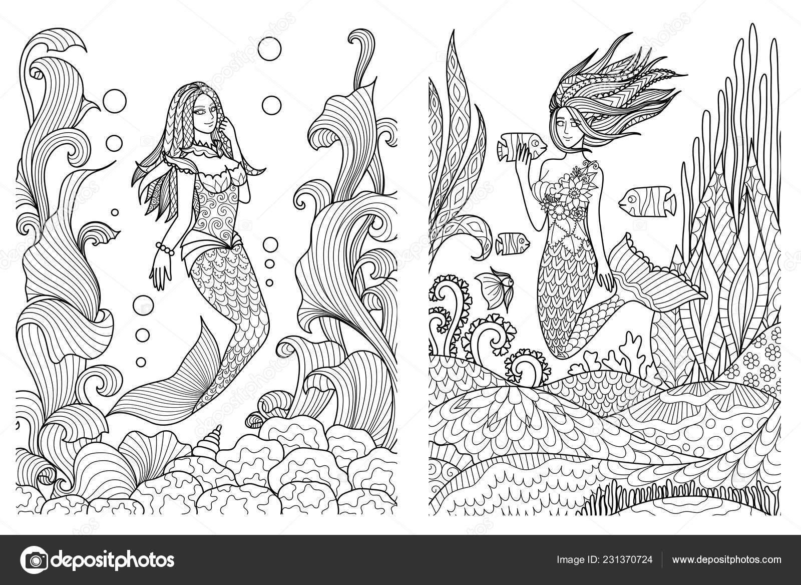 Wunderschöne Meerjungfrauen Schwimmen Unter Dem Meer Setfor