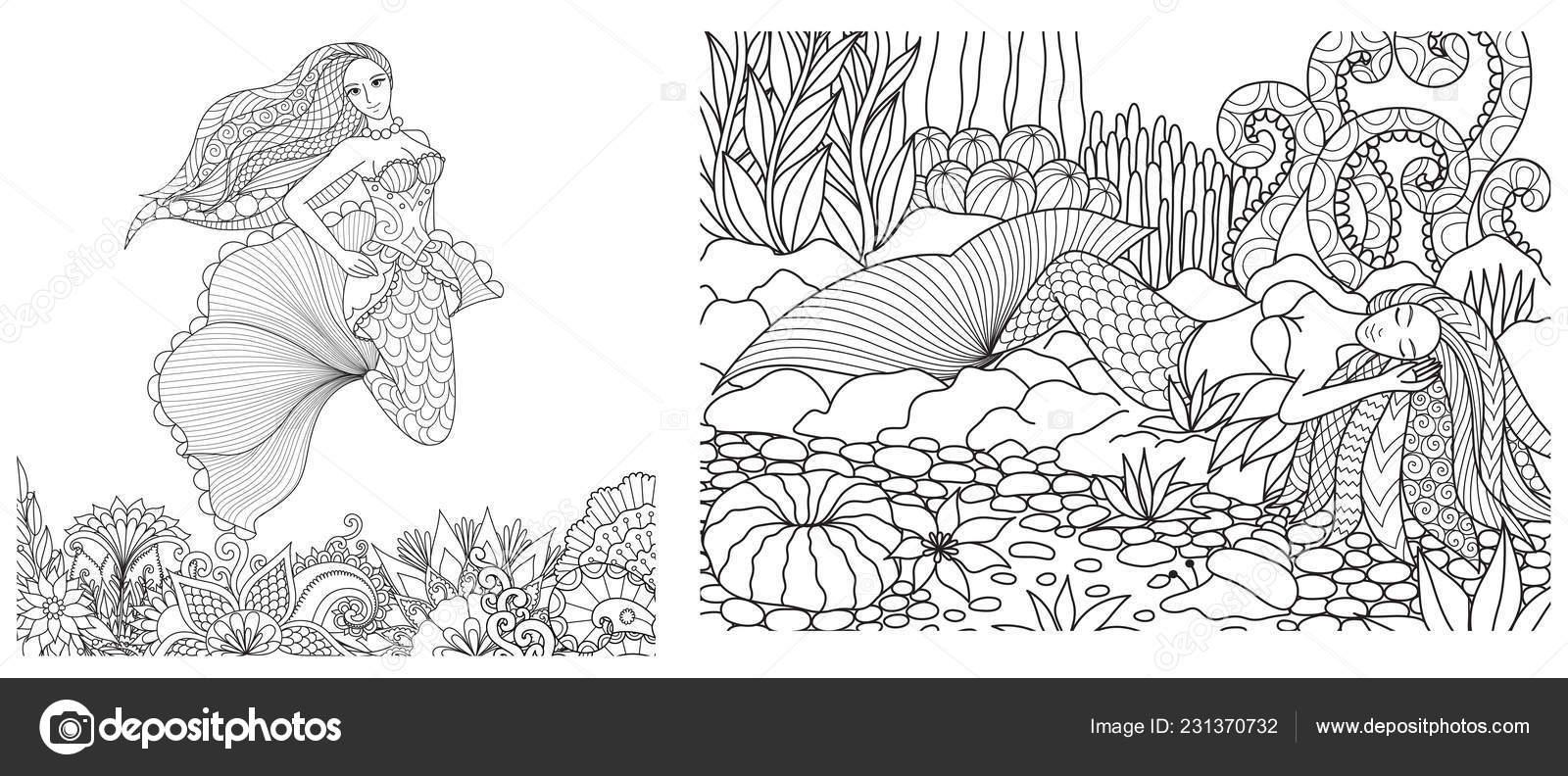 Meerjungfrau Schwimmen Oben Schöne Blumen Und Das Schlafen
