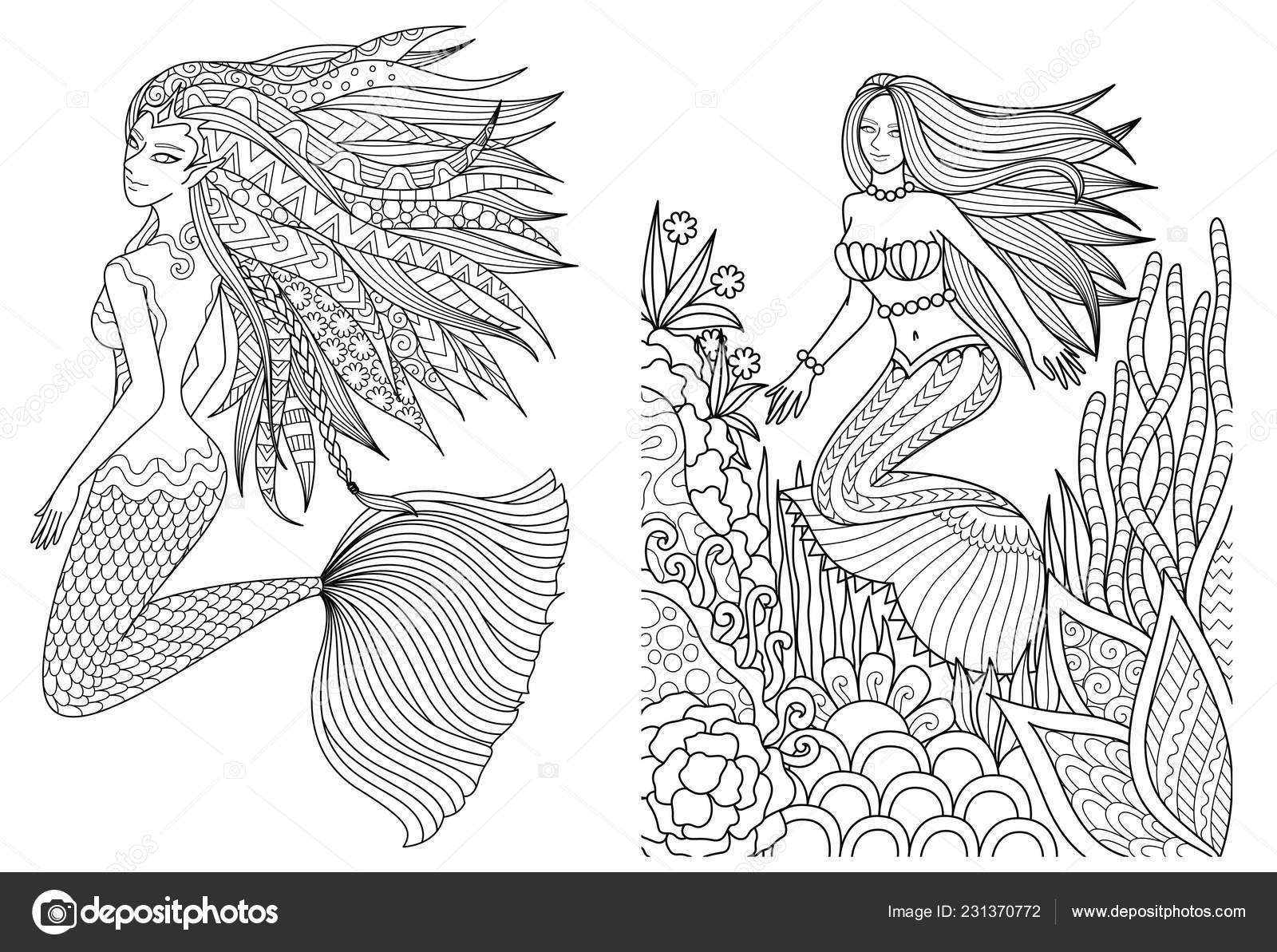 Kleurplaten Over Zwemmen.Mooie Zeemeerminnen Zwemmen Onder Zee Setfor Volwassene Kleurboek