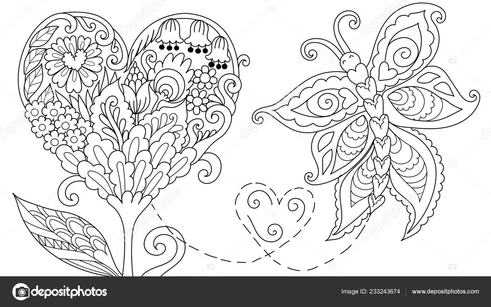 Hearted şekil çiçek Ağaç Soyut Kartları Web Dekorasyon Boyama Kitabı