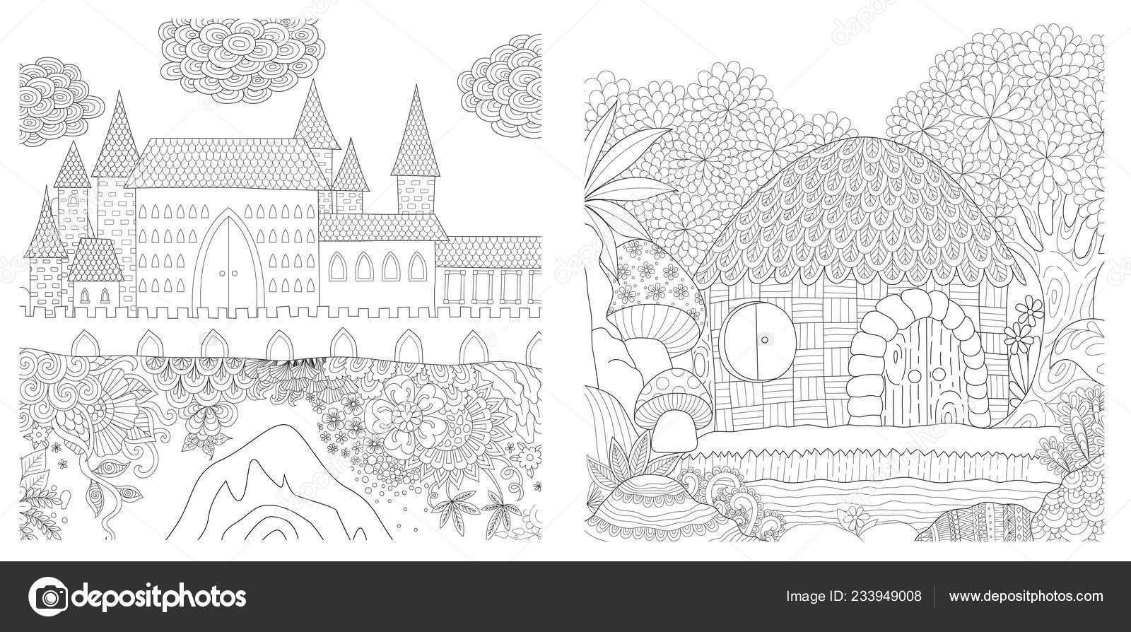 Festlegen Der Mittelalterlichen Burg Und Hütte Dschungel Für