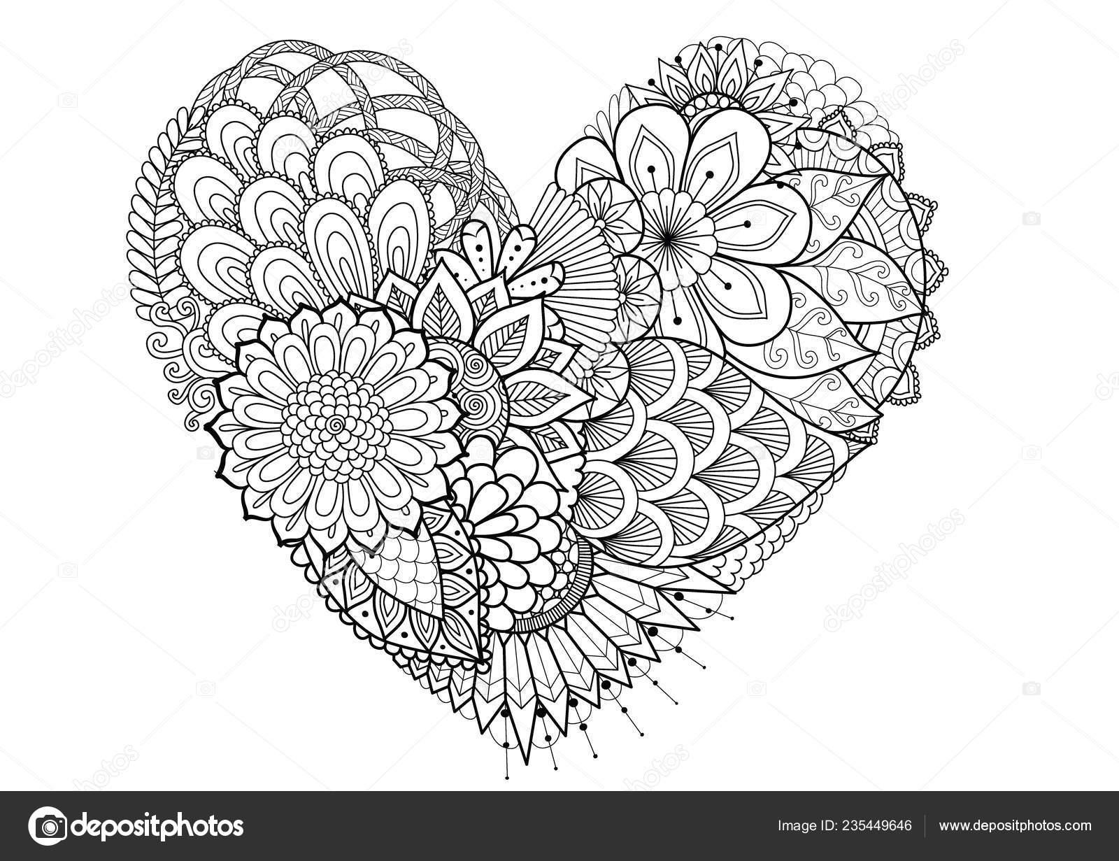 Blumen Blätter Herz Form Für Print Und Erwachsene Malbuch