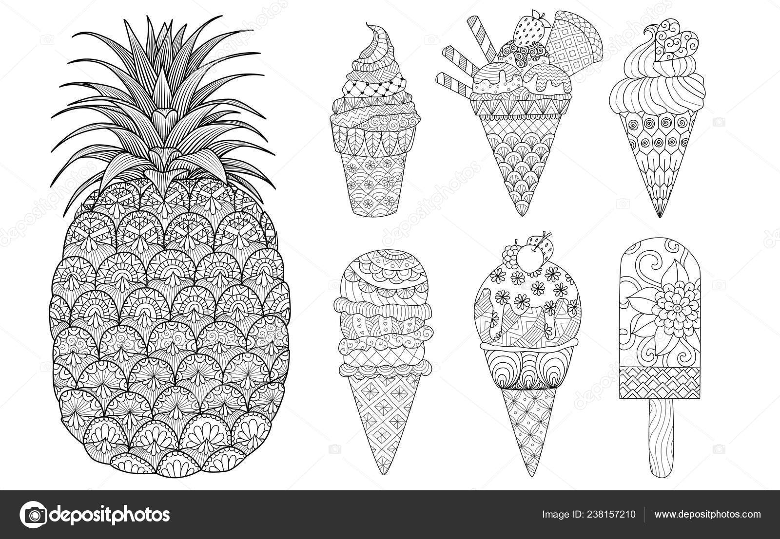 Pineapple Ice Cream Set Coloring Book Coloring Page Colouring