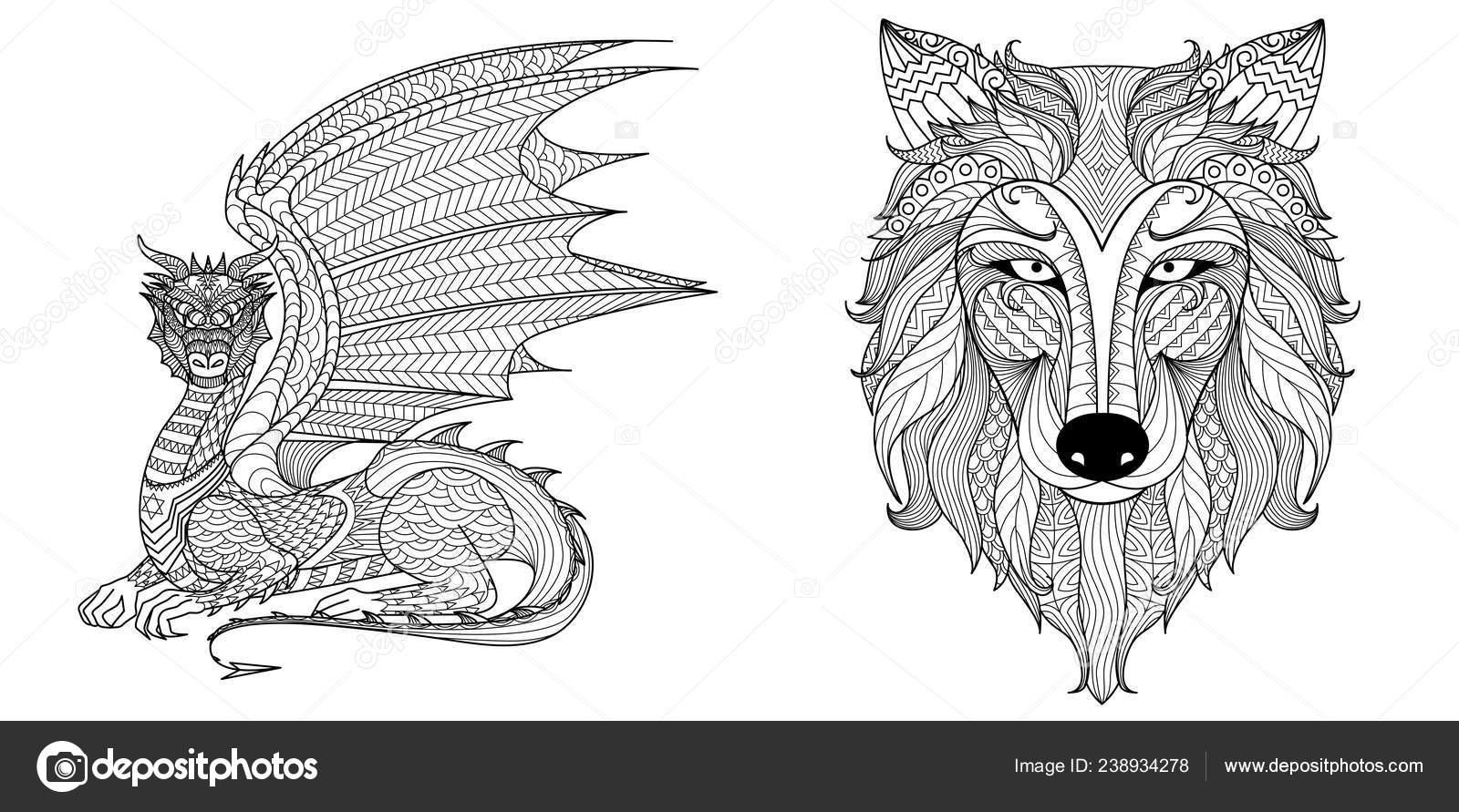 Drachen Und Wolf Design Für Malbuch Malvorlagen Seite