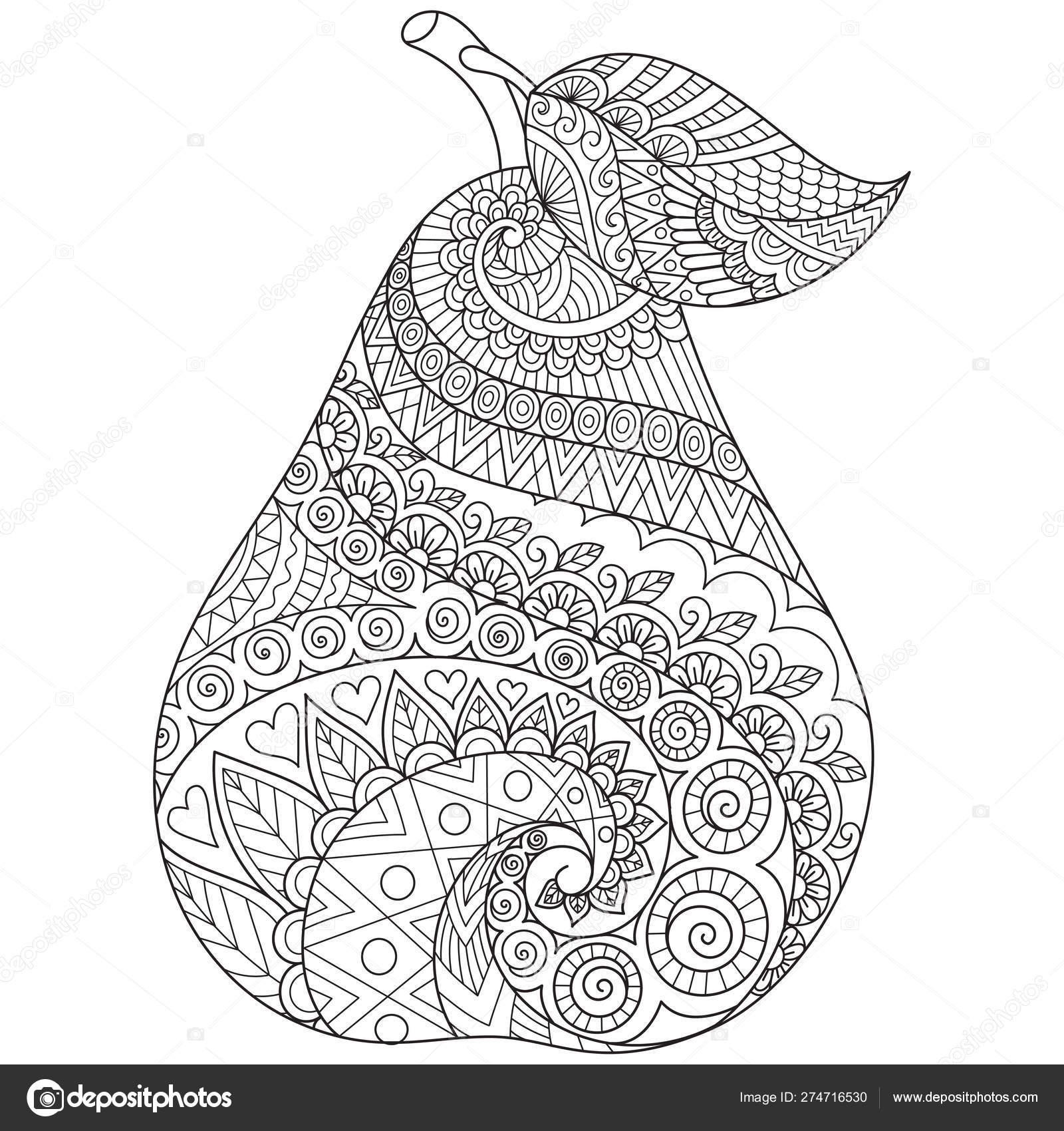 Line Art Drawing Pear Printing Stuffs Adult Coloring Book ...