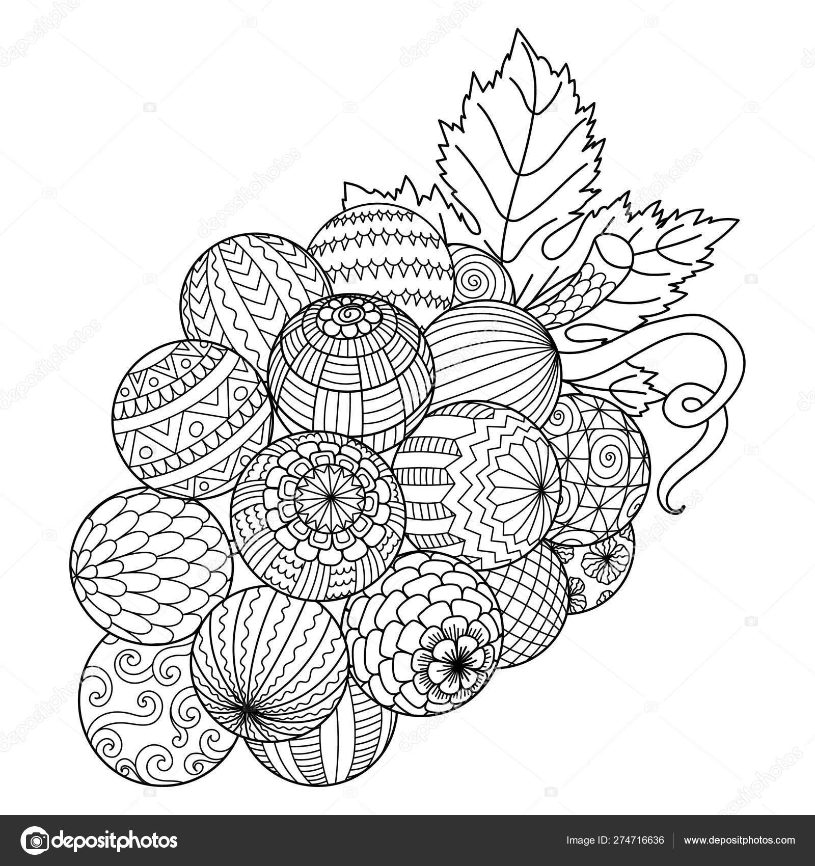 Line Art Bunch Grape Printing Stuffs Adult Coloring Book ...