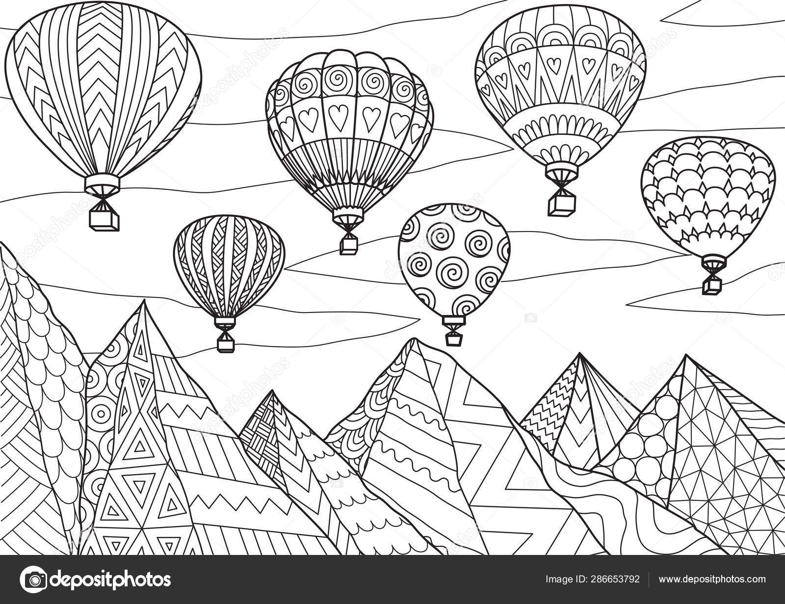 Line Art Drawing Beautiful Hot Air Balloons Flying Mountains Summer Vector Image By C Somjaicindy Gmail Com Vector Stock 286653792
