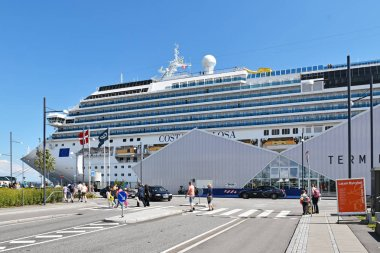 Copenhagen, Denmark - July 15, 2017: The cruise ship Costa Favolosa of the shipping company Costa Crociere has moored at the Ocean Quay Cruise Terminal in Copenhagen. It was on a 7-night cruise to Germany and Norway.