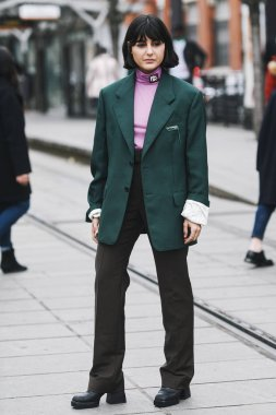 Paris, France - March 01, 2019: Street style outfit -  Fashionable person after a fashion show during Paris Fashion Week - PFWFW19