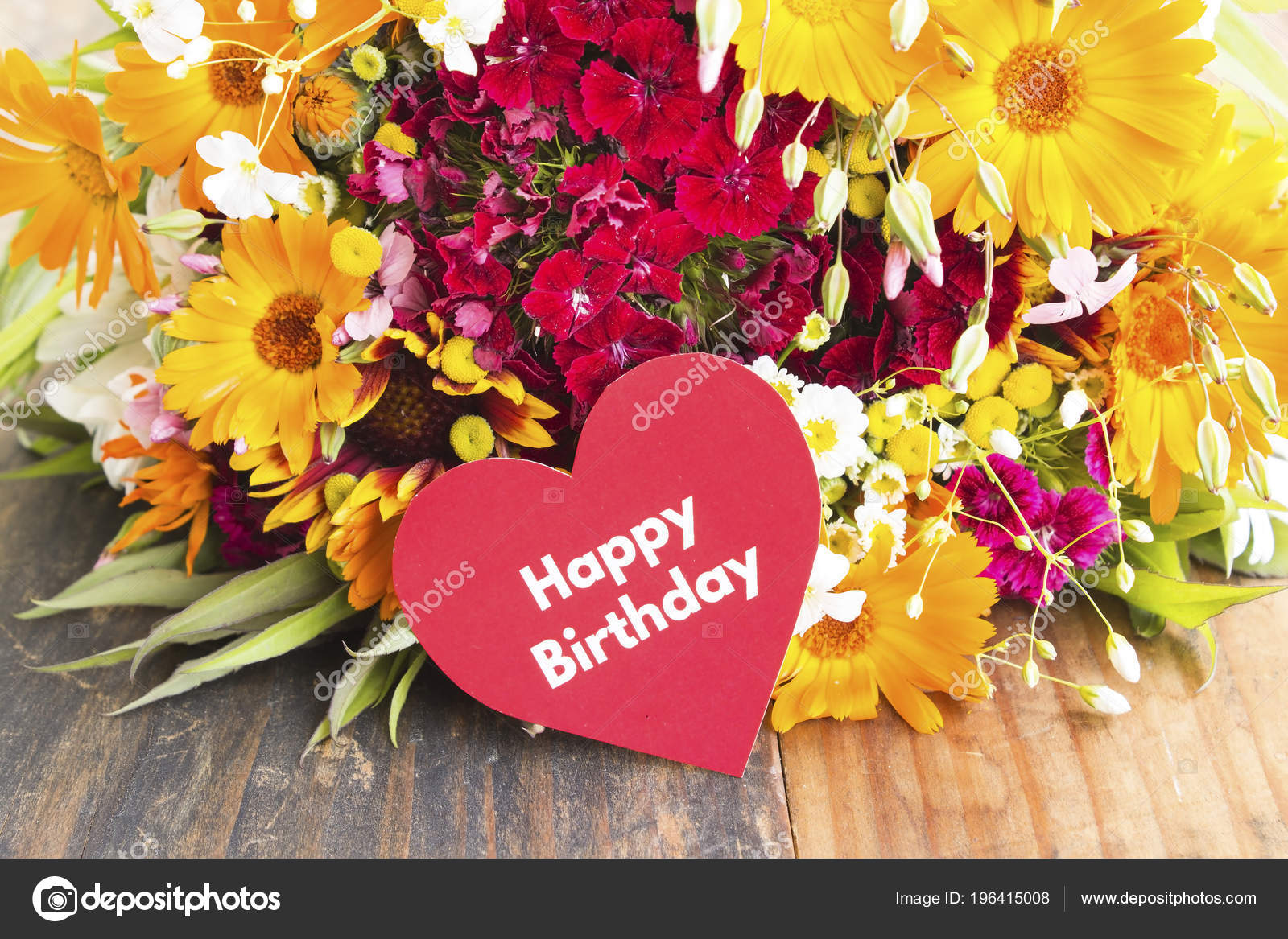 Happy Birthday Card Spring Flowers Stock Photo Simonida 196415008