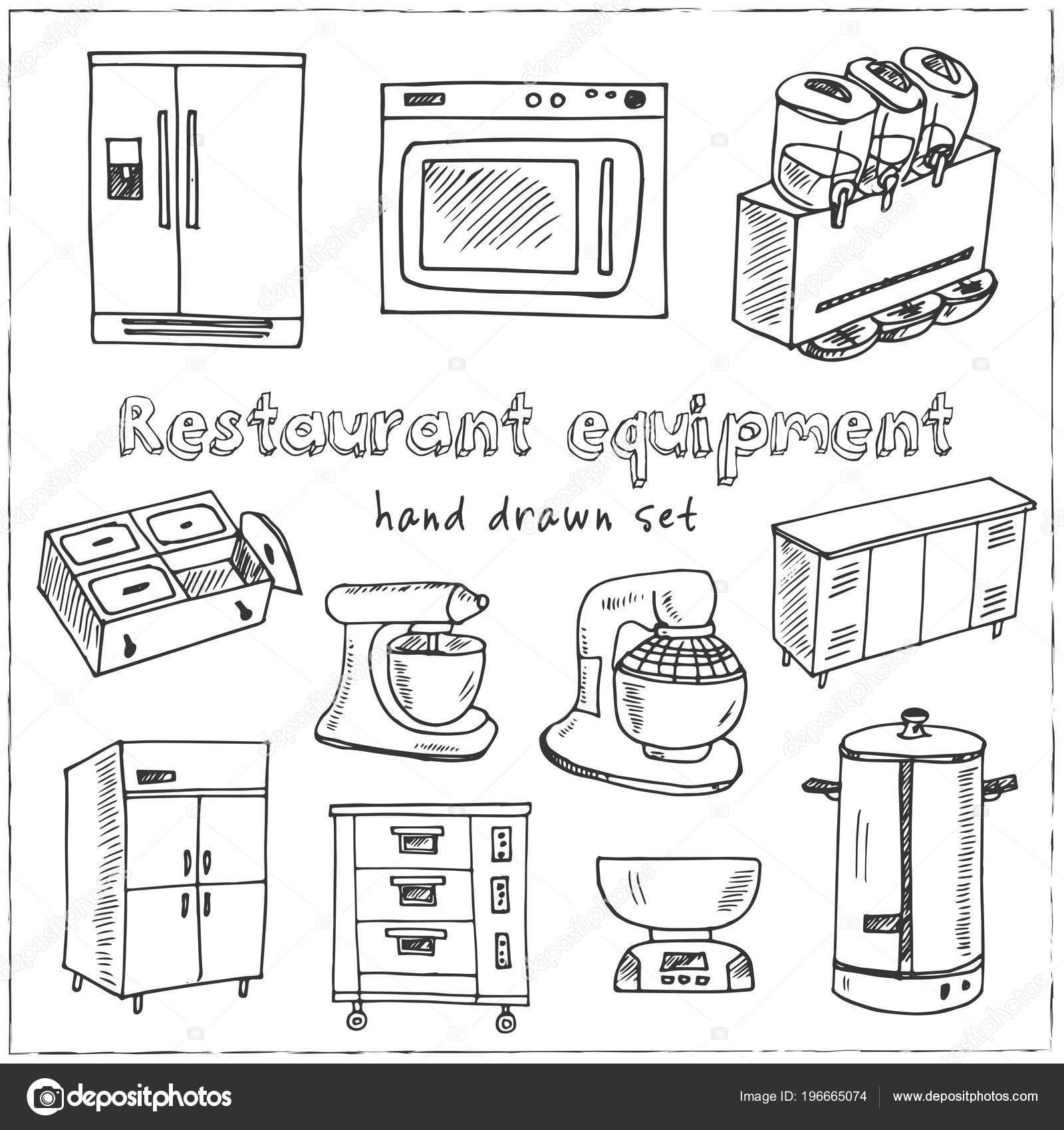 Restaurant Equipment Hand Drawn Doodle Set Sketches Vector