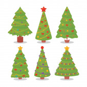 Christmas trees set. Can be used for printed materials - leaflets, posters, business cards or for web.