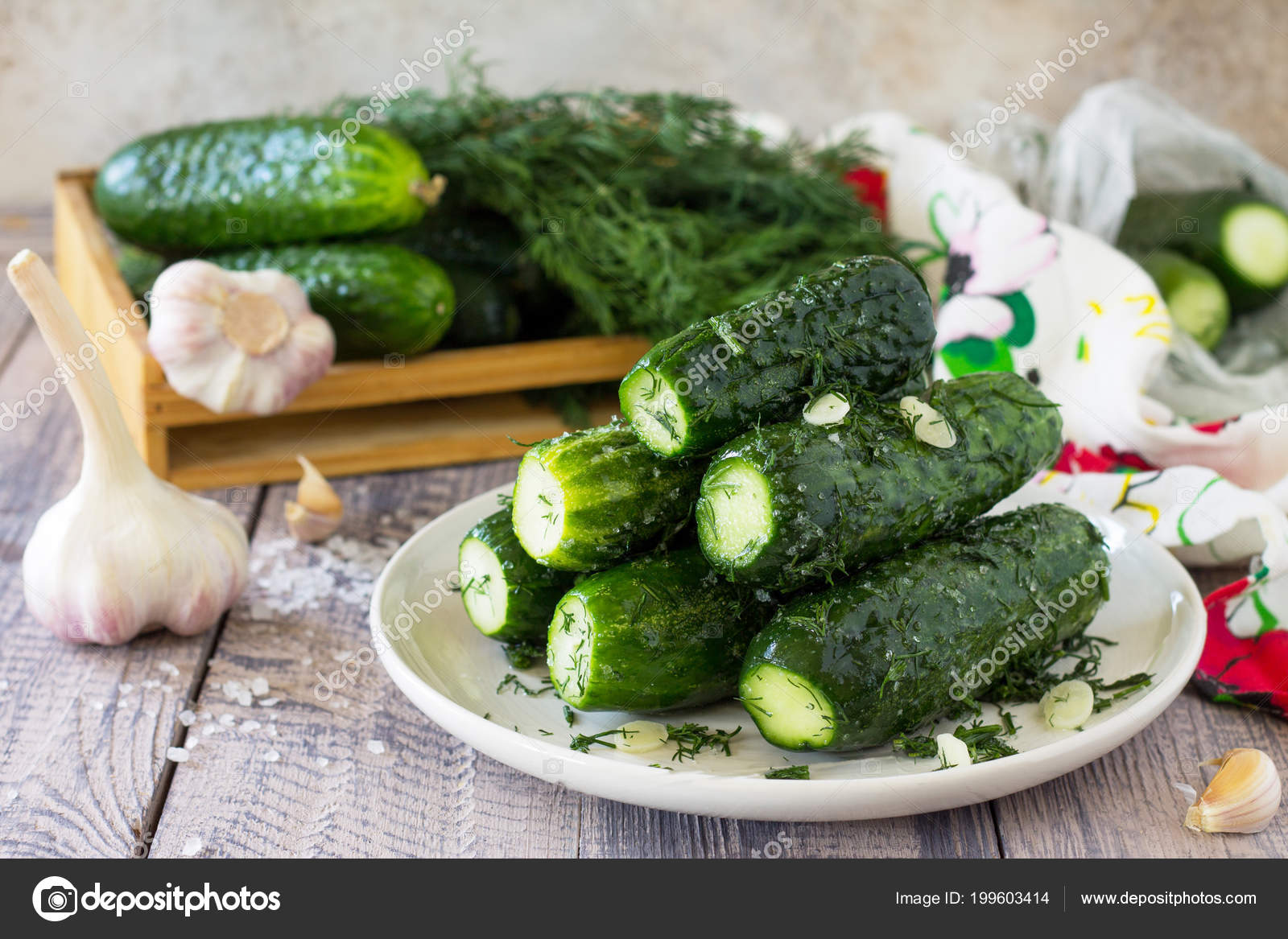 Lightly salted cucumbers in a package quickly and easily