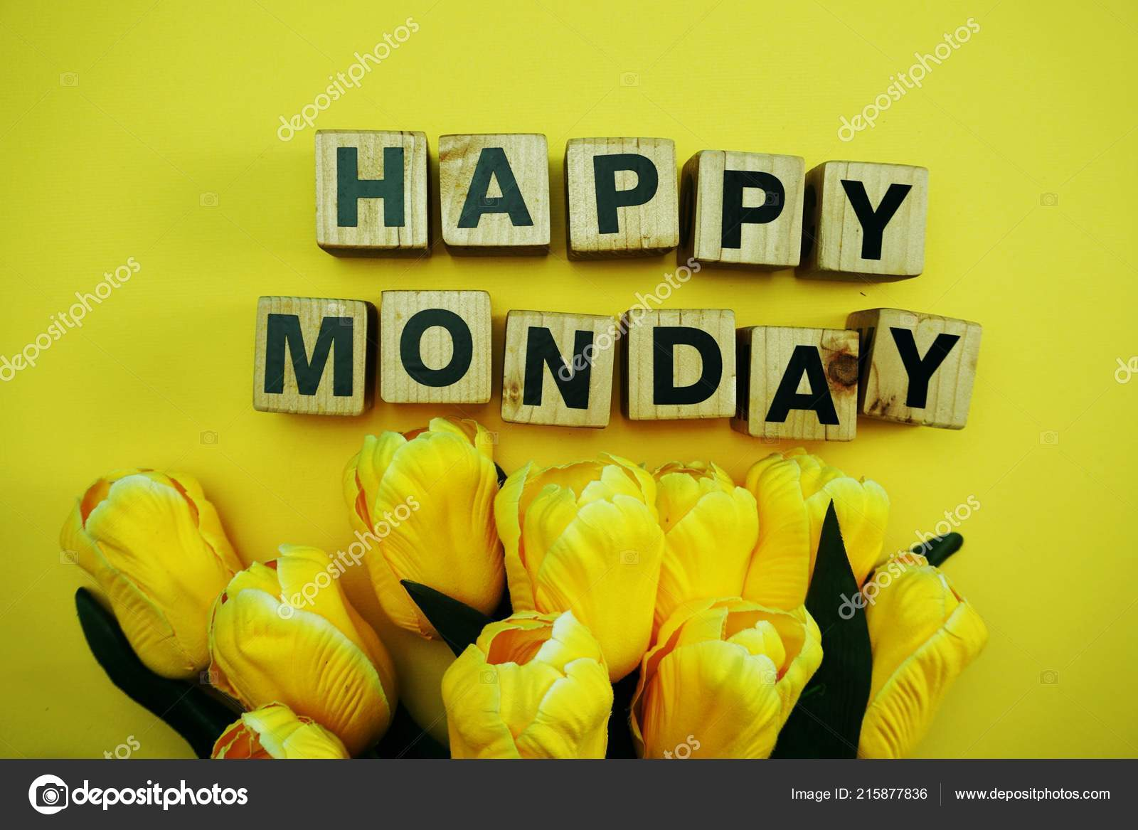 Happy Monday Alphabet Letters Yellow Background Stock Photo