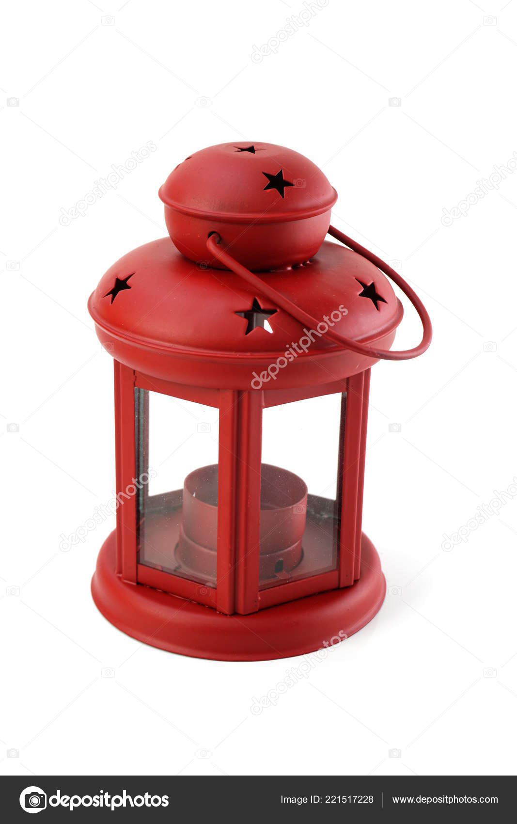 Red Decorative Lantern Isolated White Background Stock