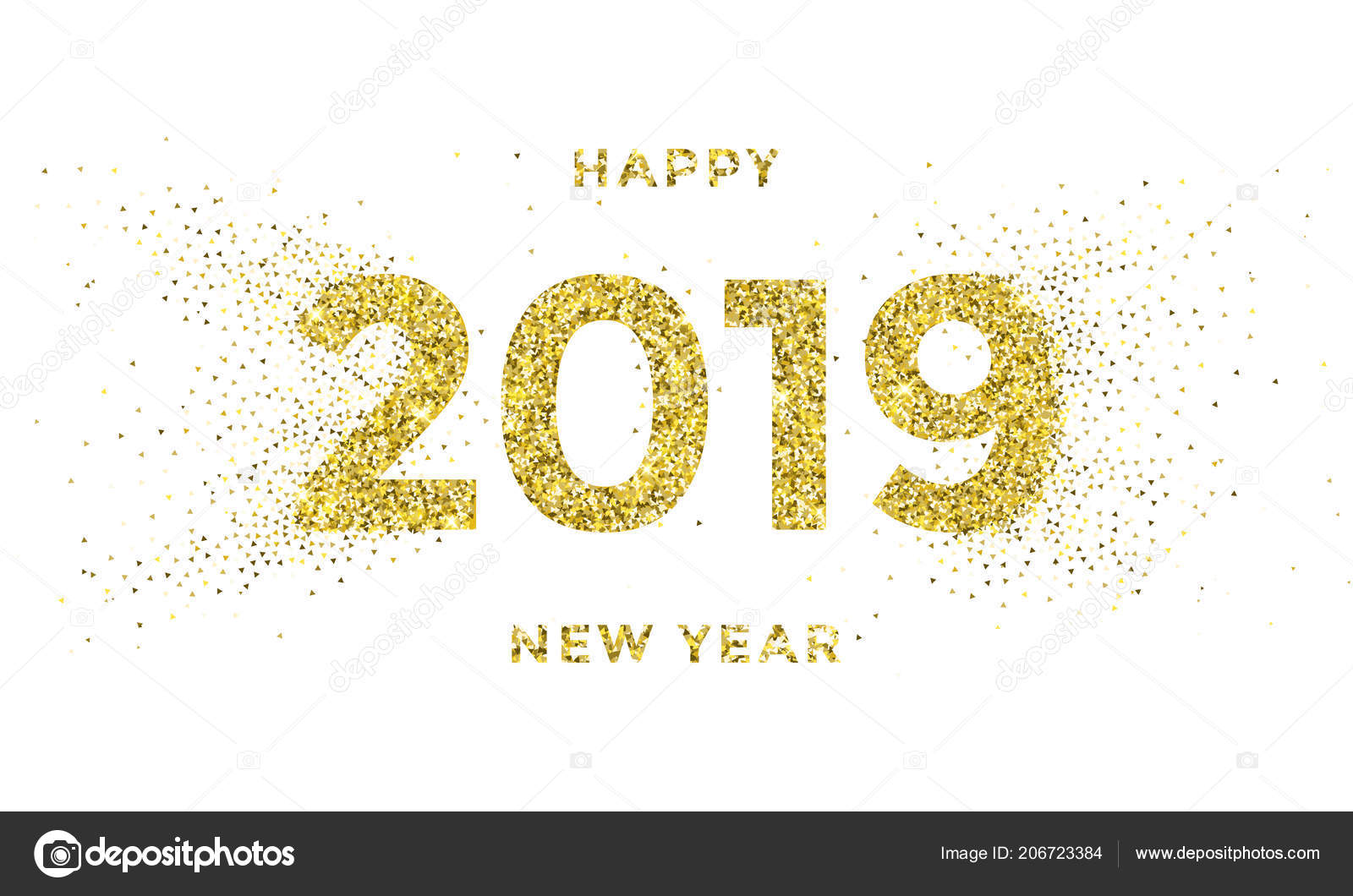 2019 happy new year greeting card of vector golden stars glitter confetti for christmas holiday celebration on white sparkling background vector by