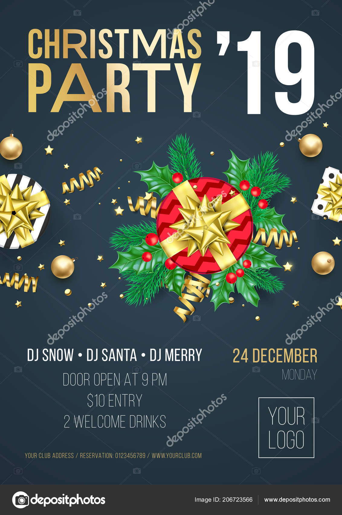 christmas party invitation poster card 2019 happy new year holiday stock vector