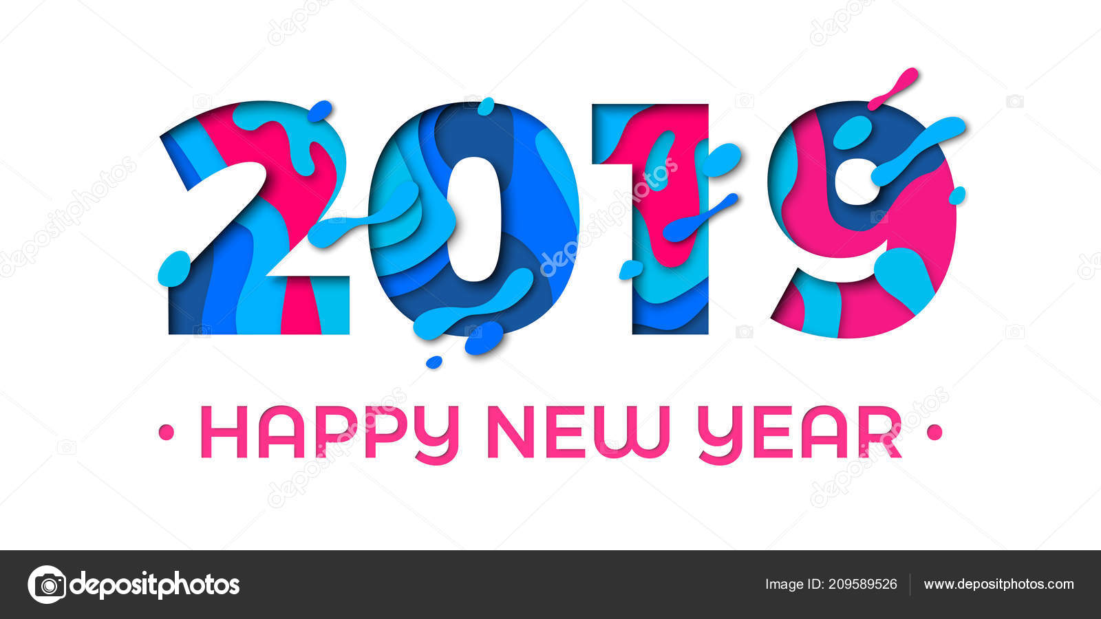 Happy new year 2019 greeting card paper cut effect color - New year 2019 color ...