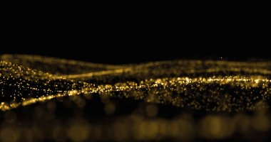 Golden glitter, sparkling light particles and glowing dust wave. Gold bokeh light glow, shimmering sparks flow splash wave on black background