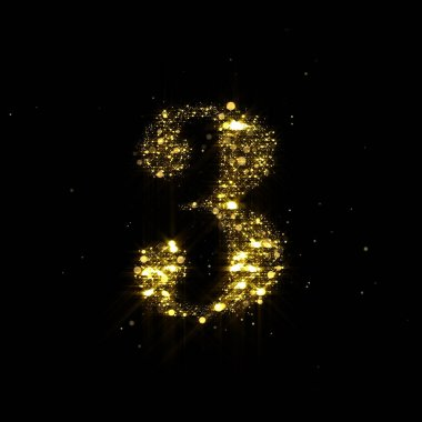 Golden glitter number 3, sparkling gold light and glowing gold particles shine font. Number three of shimmering sequins and glow sparkles on luxury black background