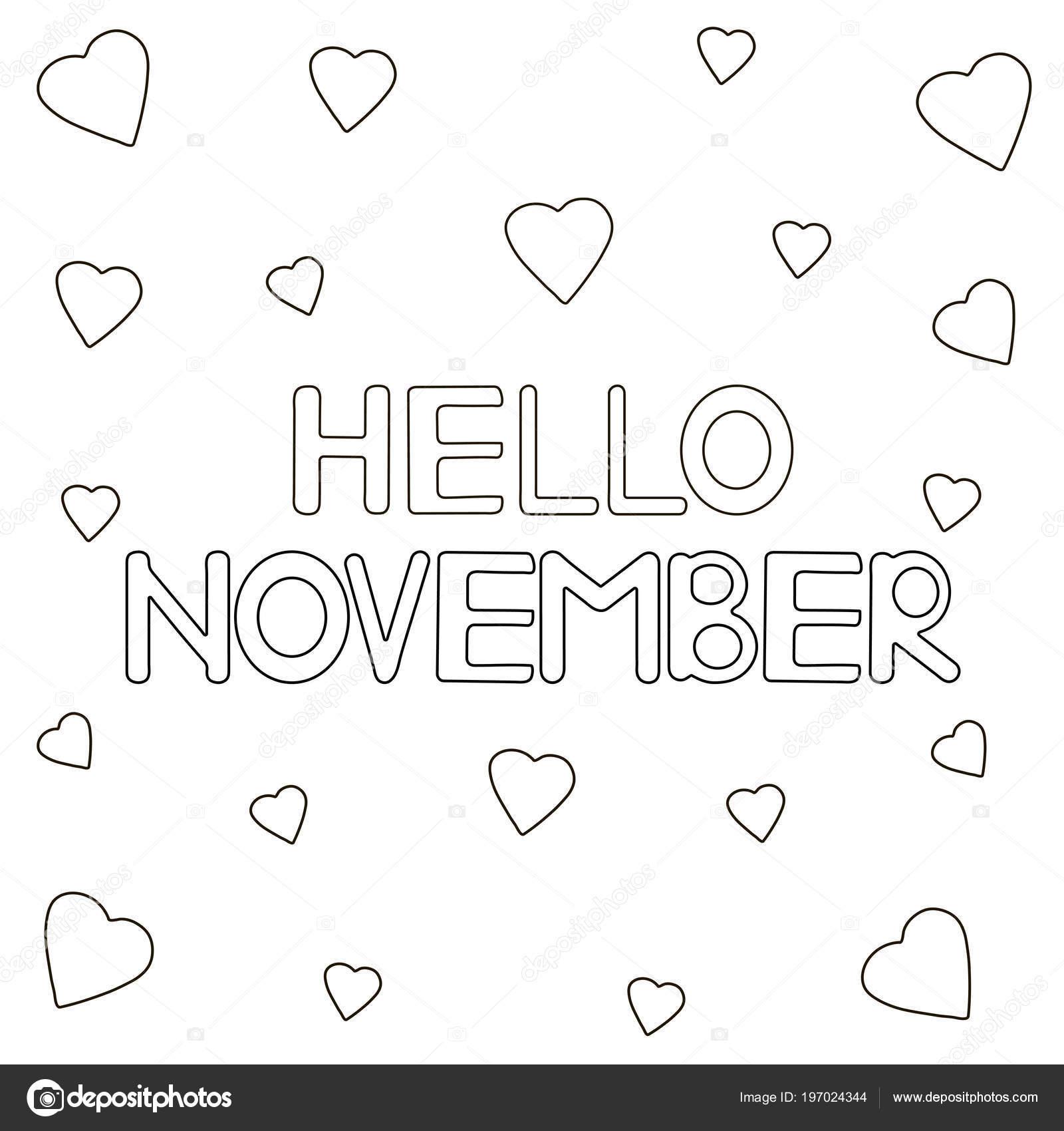 Colorear Corazones Página Con Texto Dibujado Mano Hola Noviembre ...