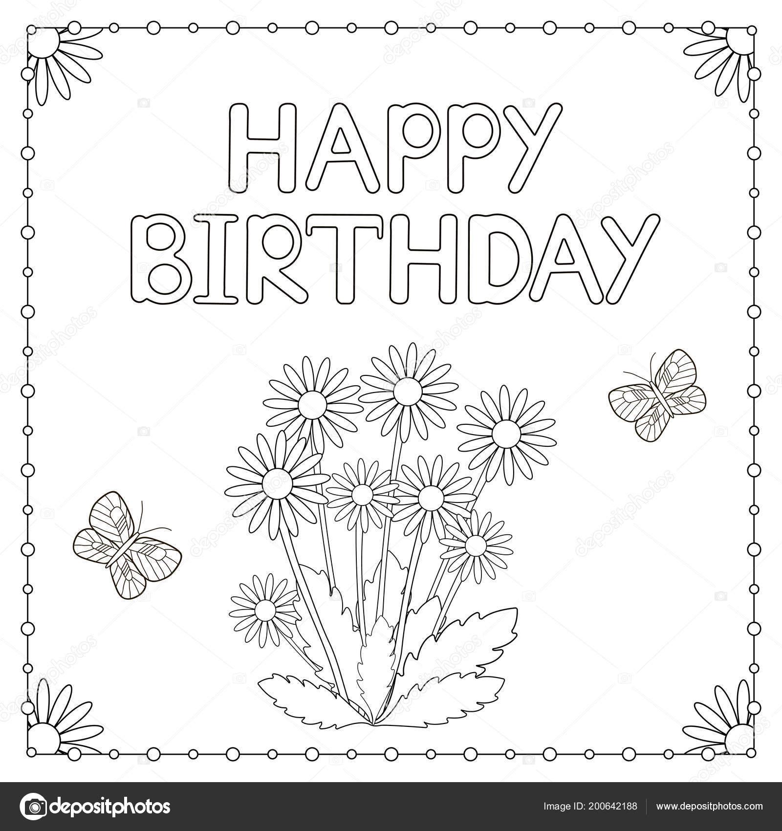 Doğum Günü Kartı çiçekler Kelebekler Boyama Sayfası Vektör çizim