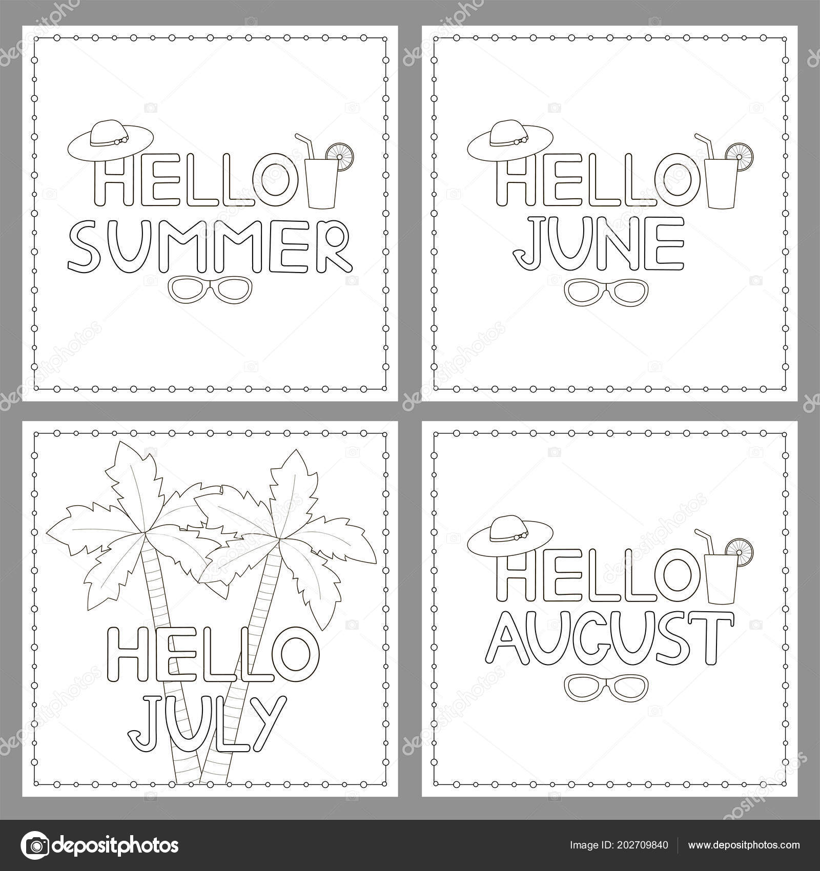 Hello Summer Coloring Pages Coloring Pages Set Phrases