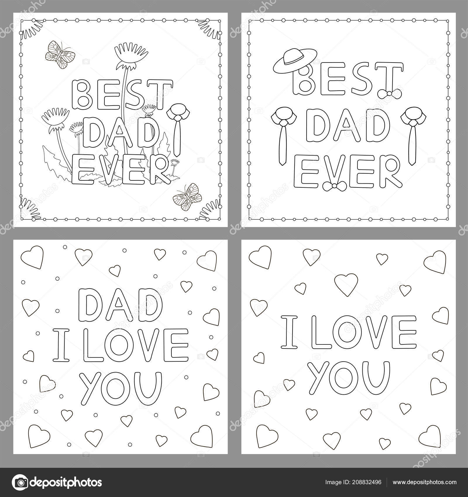 Cartes Postales Pour Papa Coloriage Illustration Vectorielle