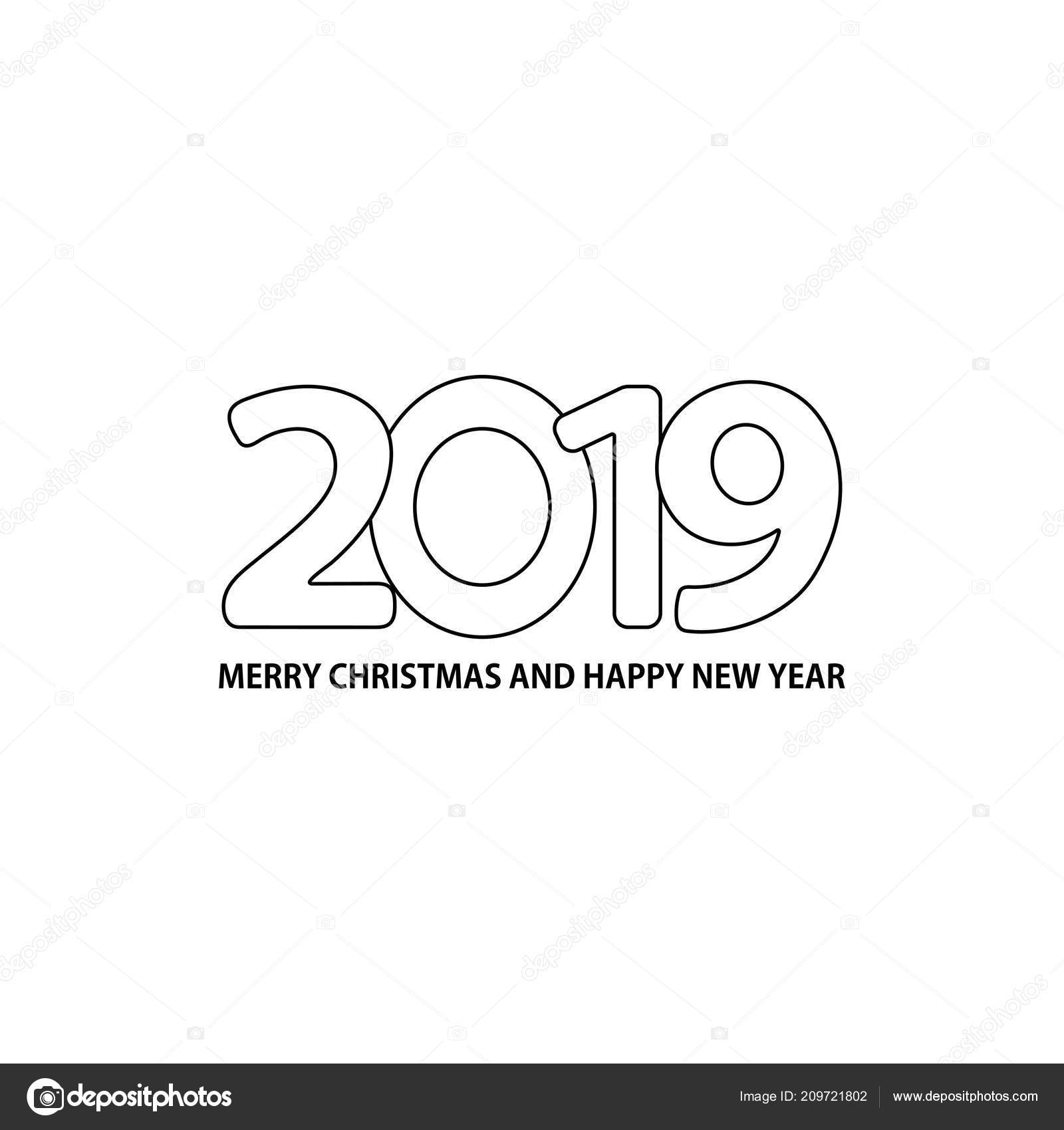 number 2019 text merry christmas happy new year white background stock vector