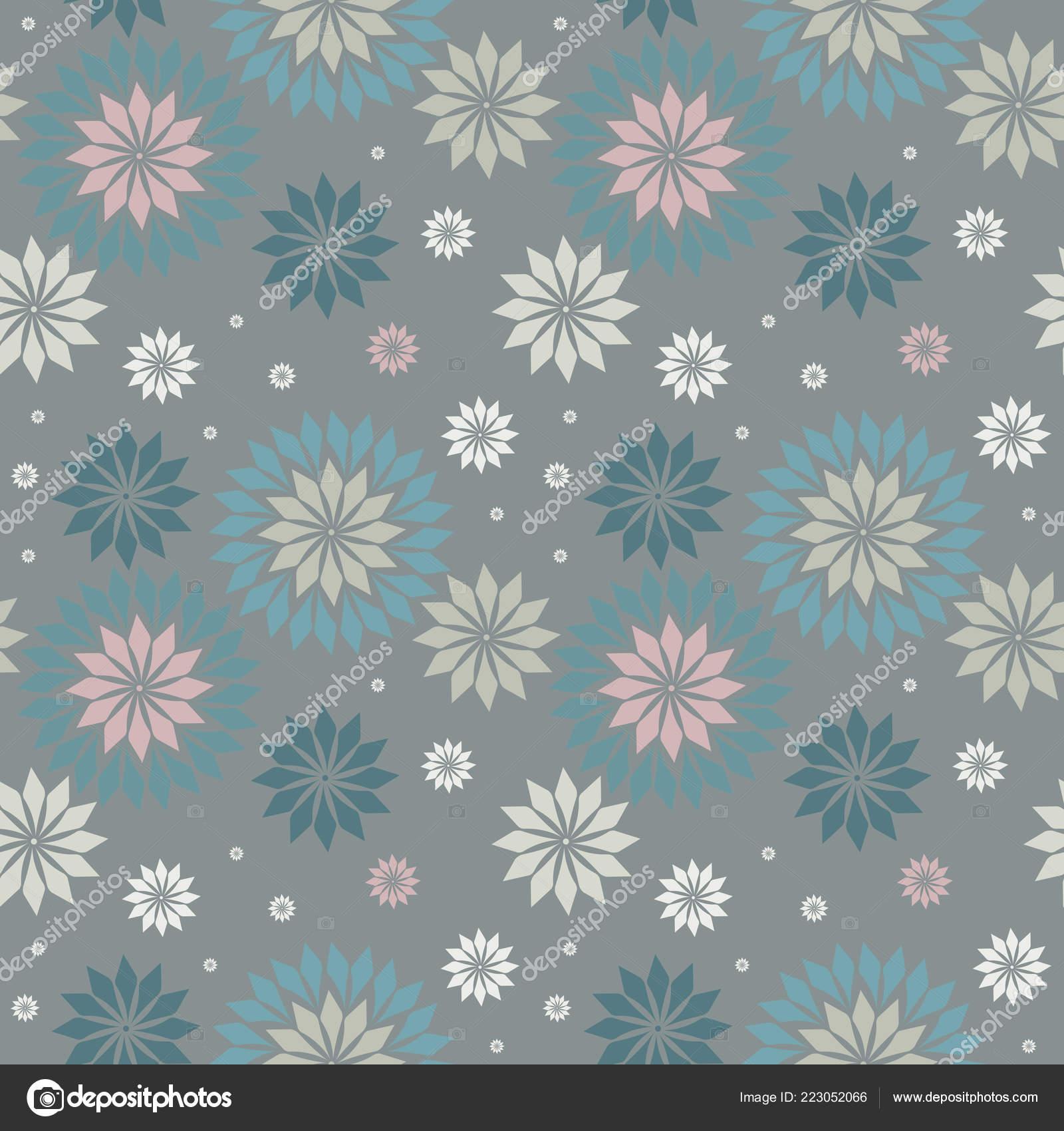 Stylish Seamless Pattern Snowflakes Trendy Seamless