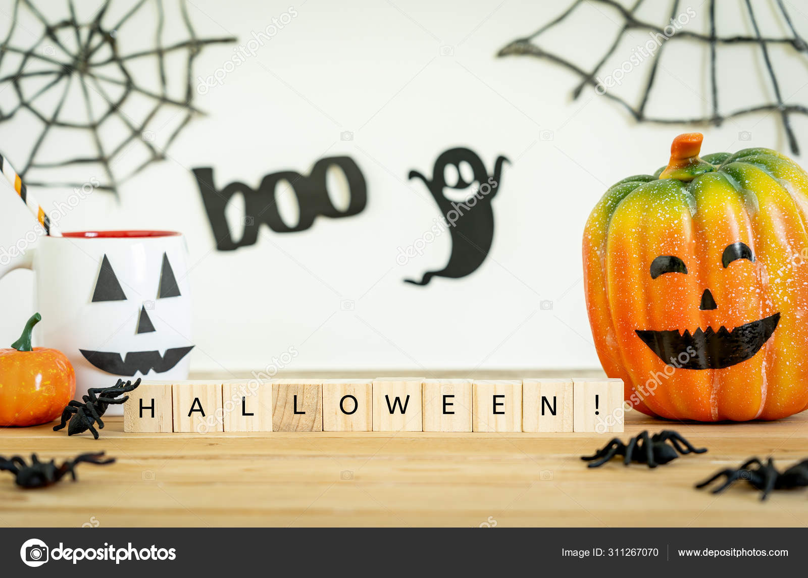 Halloween Pumpkin Accessories.Accessories Decorations Happy Halloween Day Background Concept Cup Drink Pumpkin Stock Photo Image By C Osaba Stock 311267070