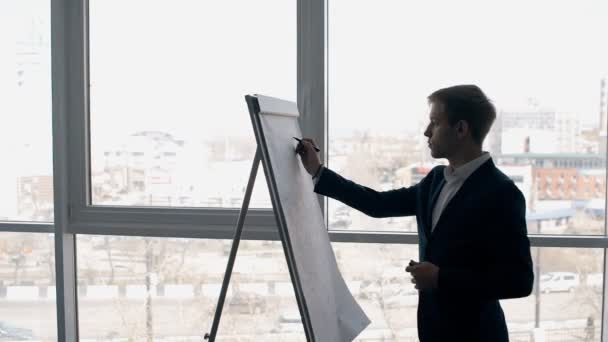 Successful expert businessman writes on flipchart standing in modern office with cityscape.