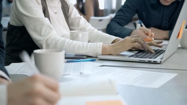 Žena pracující na notebooku vnitřní pracovní prostor